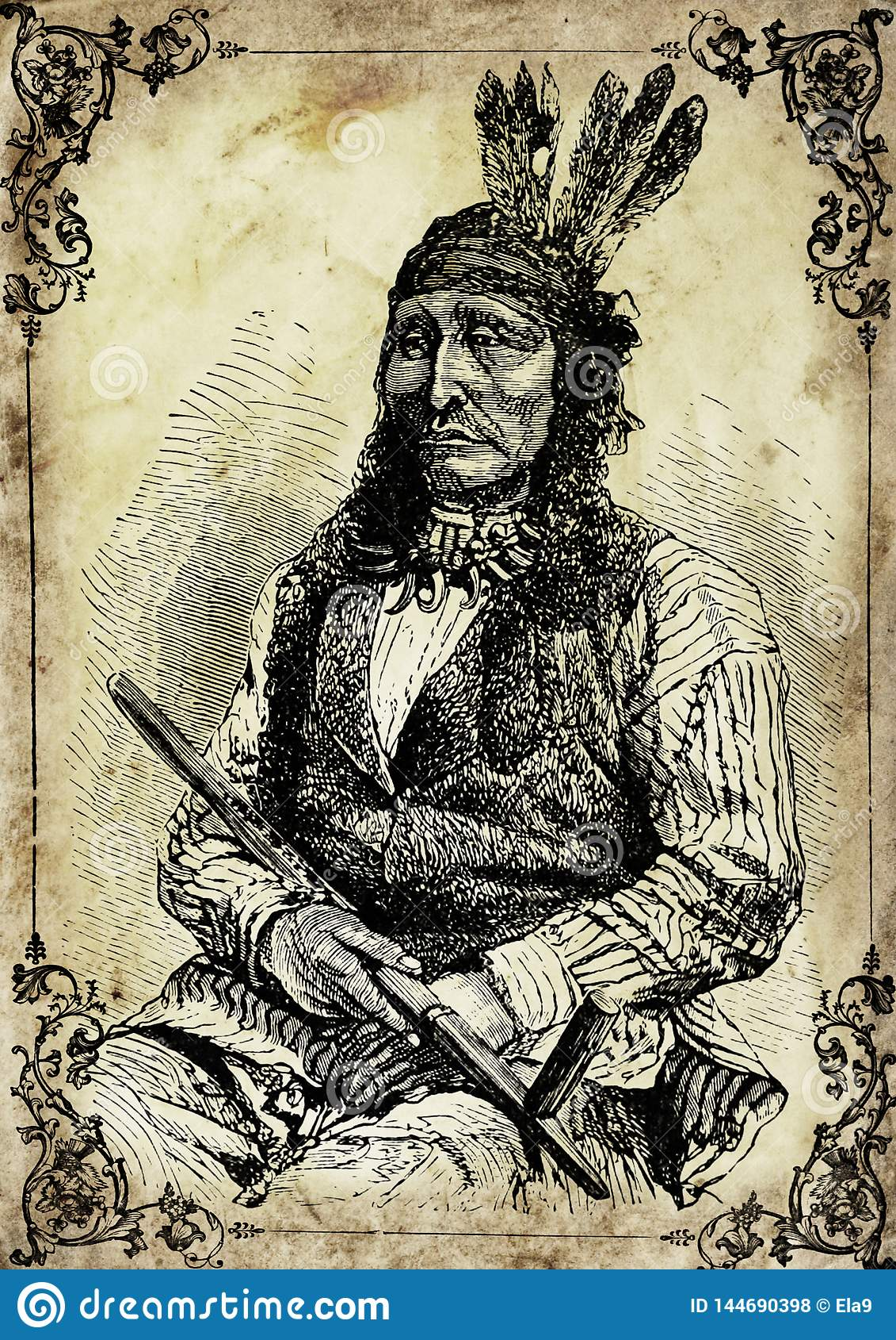 Vintage illustration of Native American