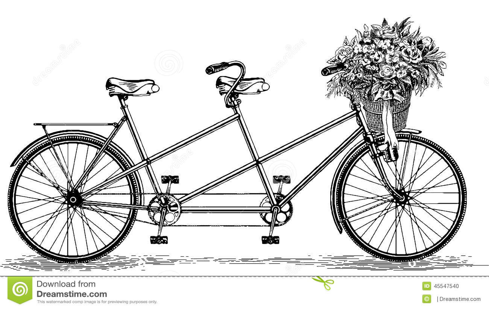Vintage Illustration Tandem Bicycle Bike Cycle Stock Photo ...