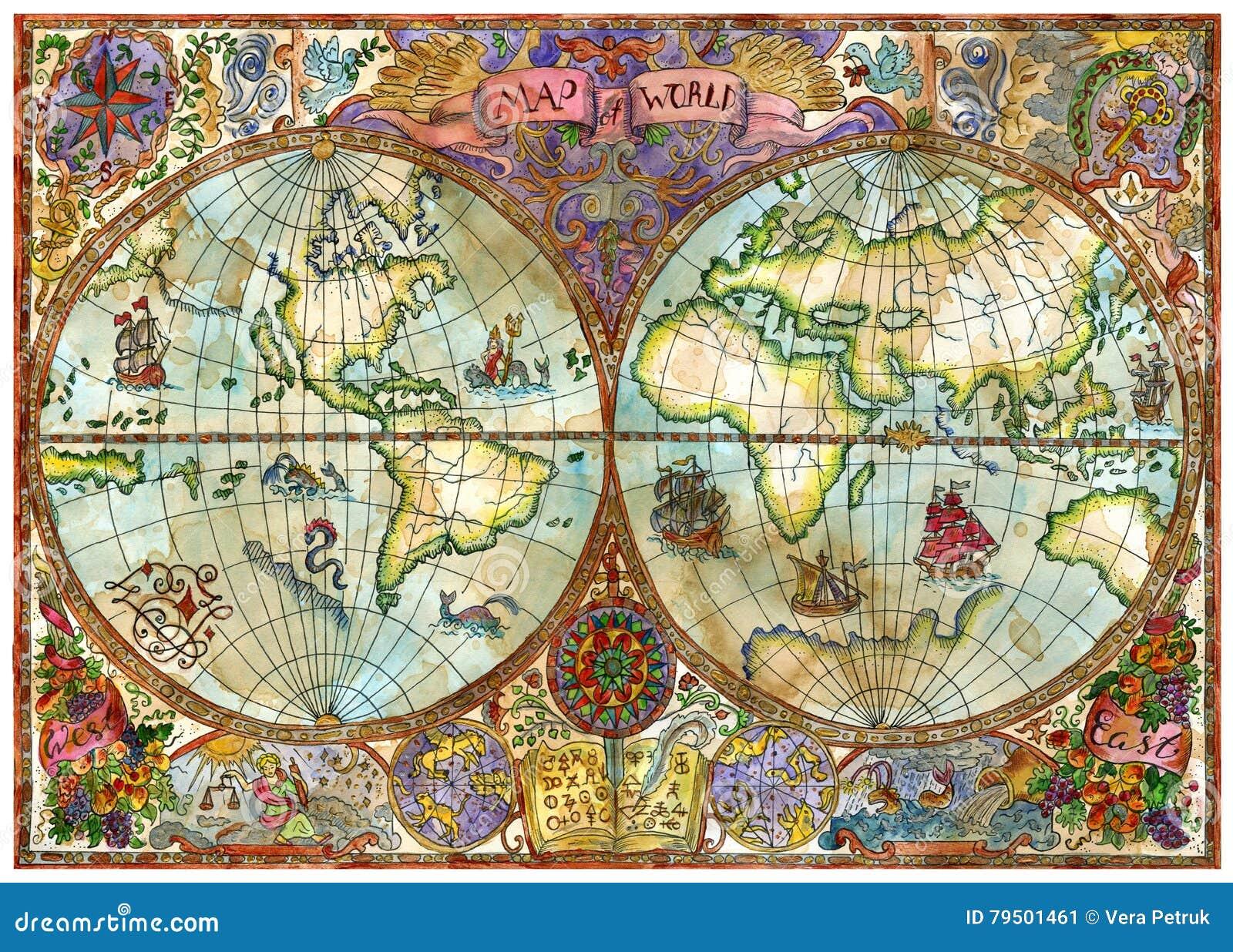 Vintage illustration with world atlas map on old paper stock vintage illustration with world atlas map on old paper royalty free illustration download gumiabroncs Images