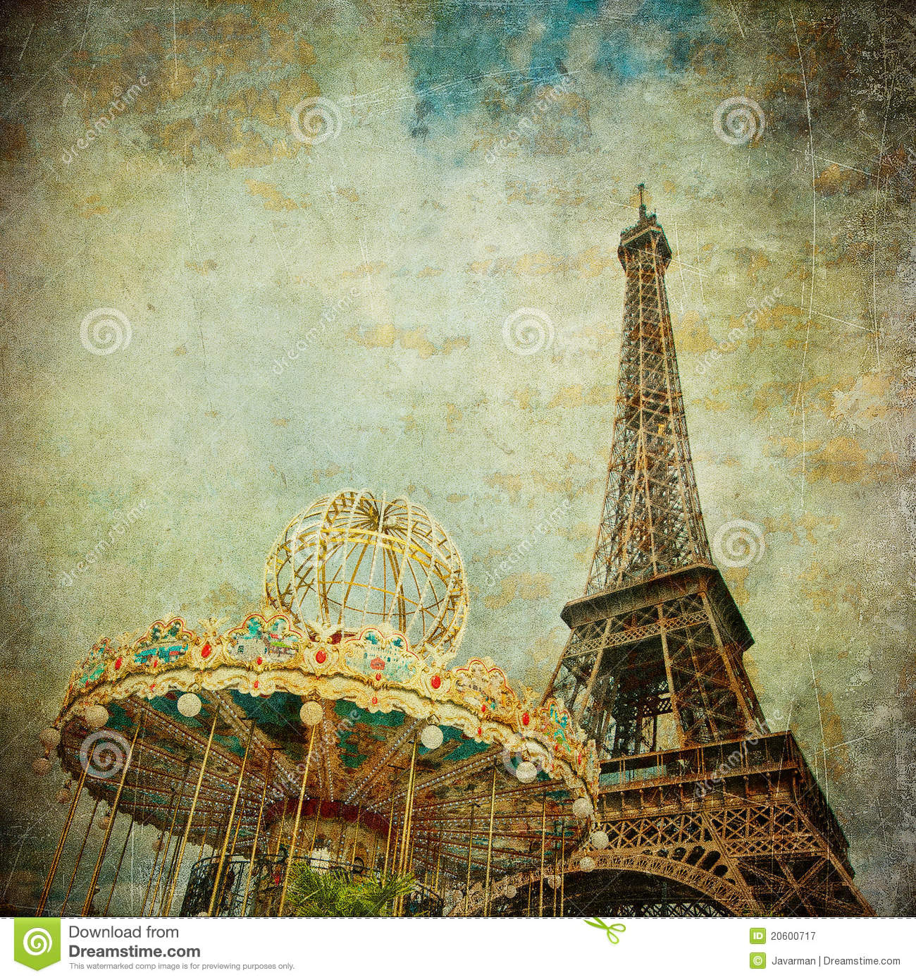 vintage image of eiffel tower paris stock image image of city landmark 20600717. Black Bedroom Furniture Sets. Home Design Ideas