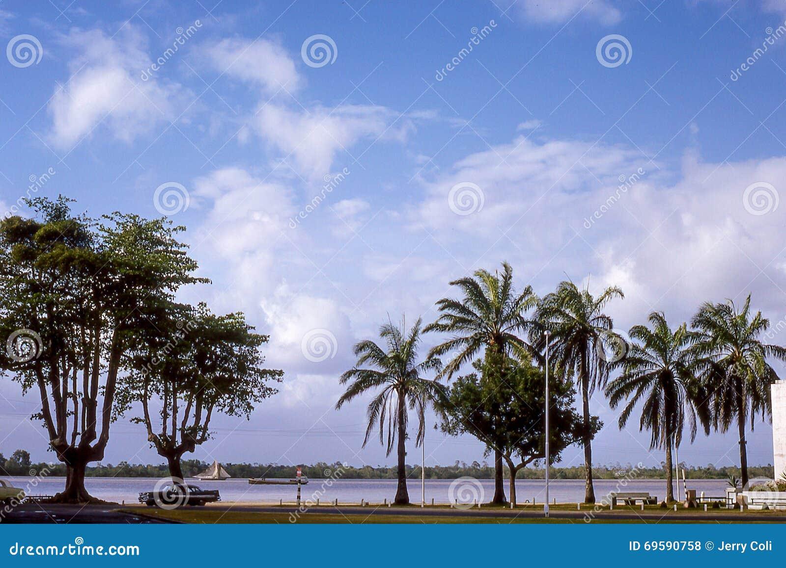 Vintage image of Paramaribo, Suriname.