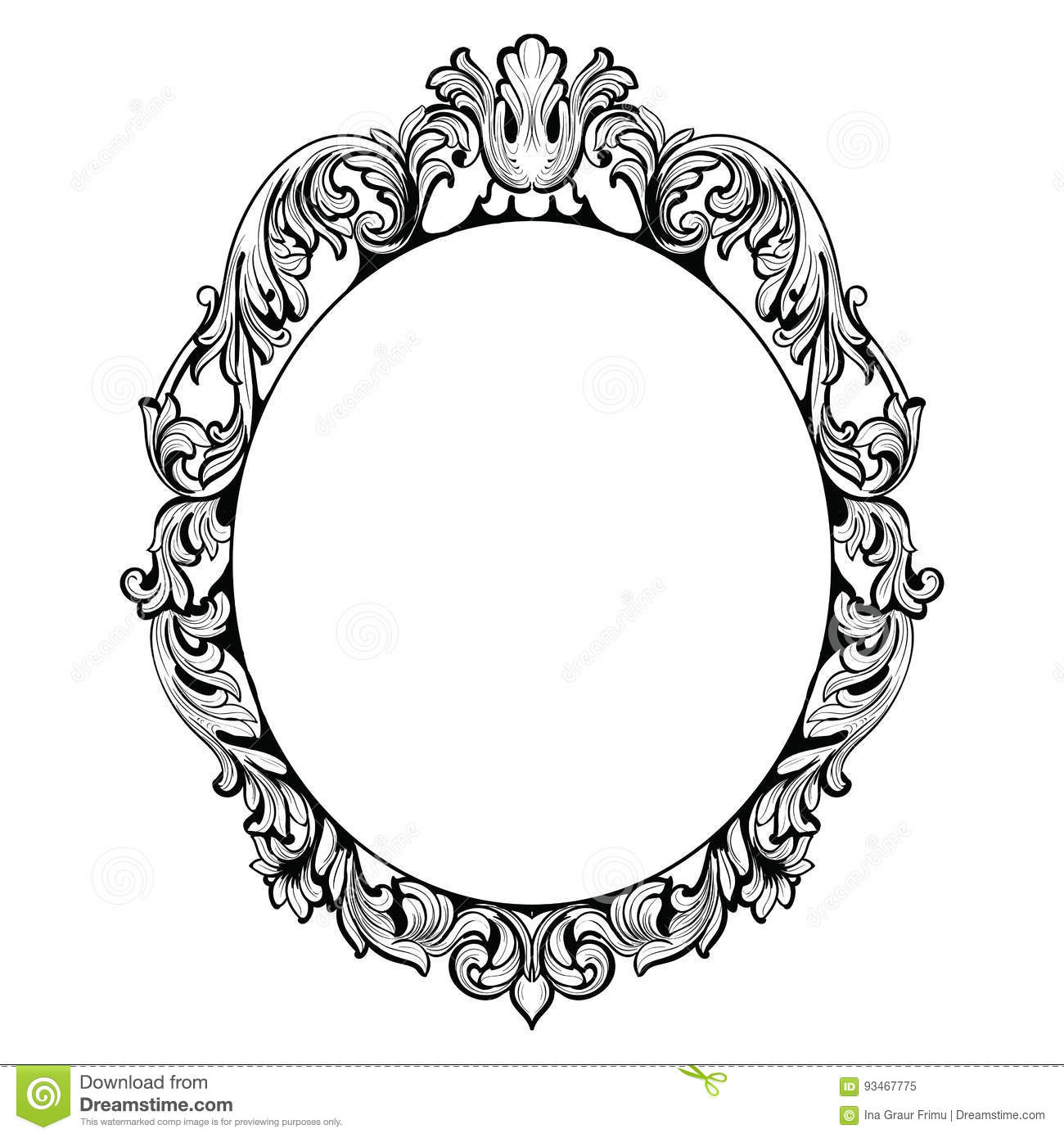 Vintage Imperial Baroque Mirror Frame Vector French