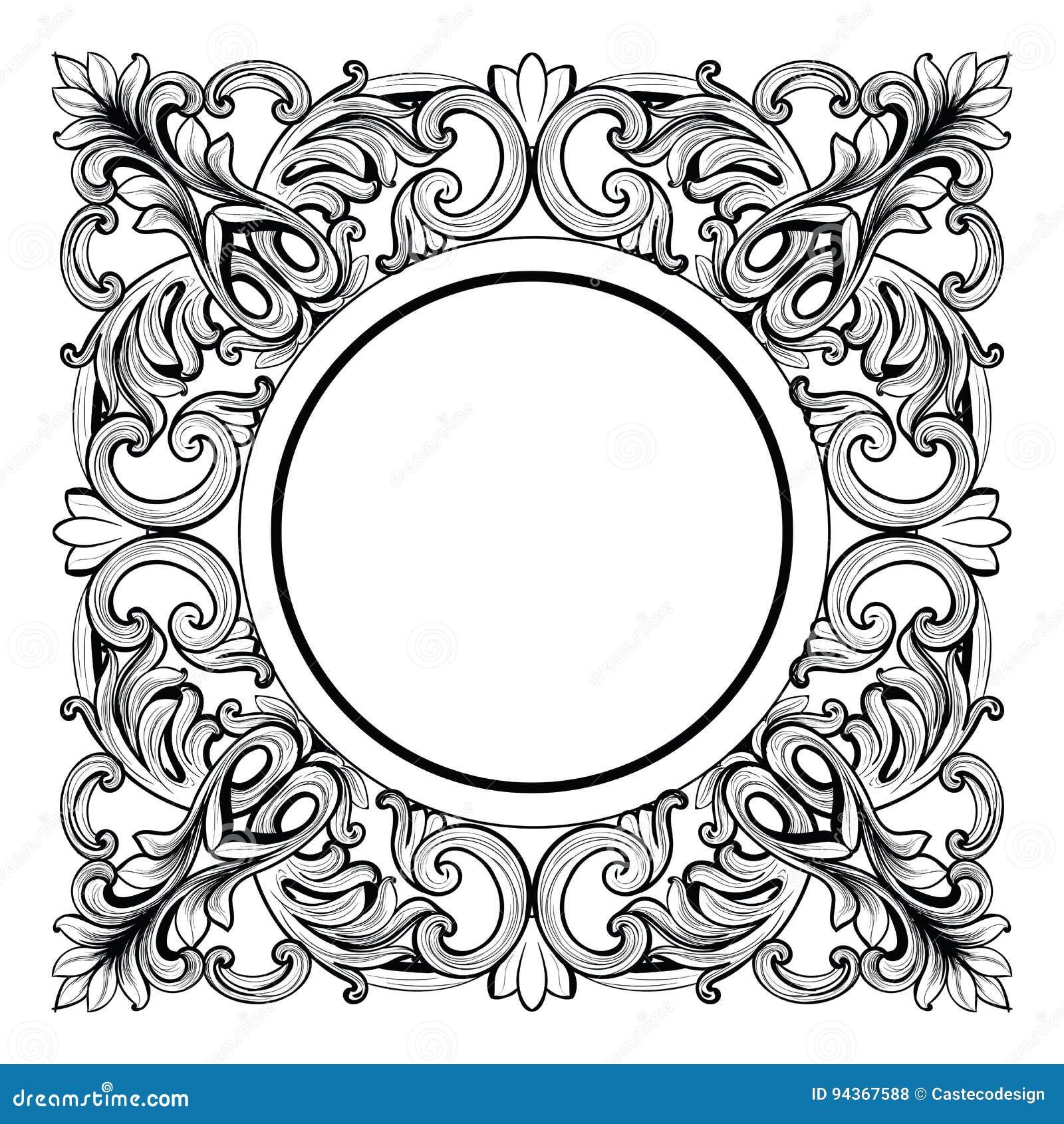 Wilko baroque mirror silver 87x62cm -  Vintage Imperial Baroque Mirror Round Frame Vector French Luxury