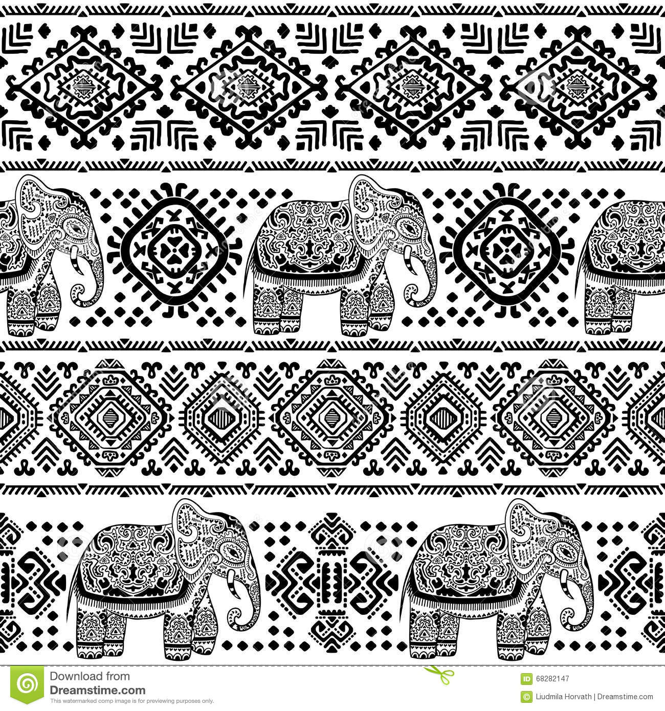 vintage indian elephant seamless pattern with tribal ornaments stock vector image 68282147. Black Bedroom Furniture Sets. Home Design Ideas