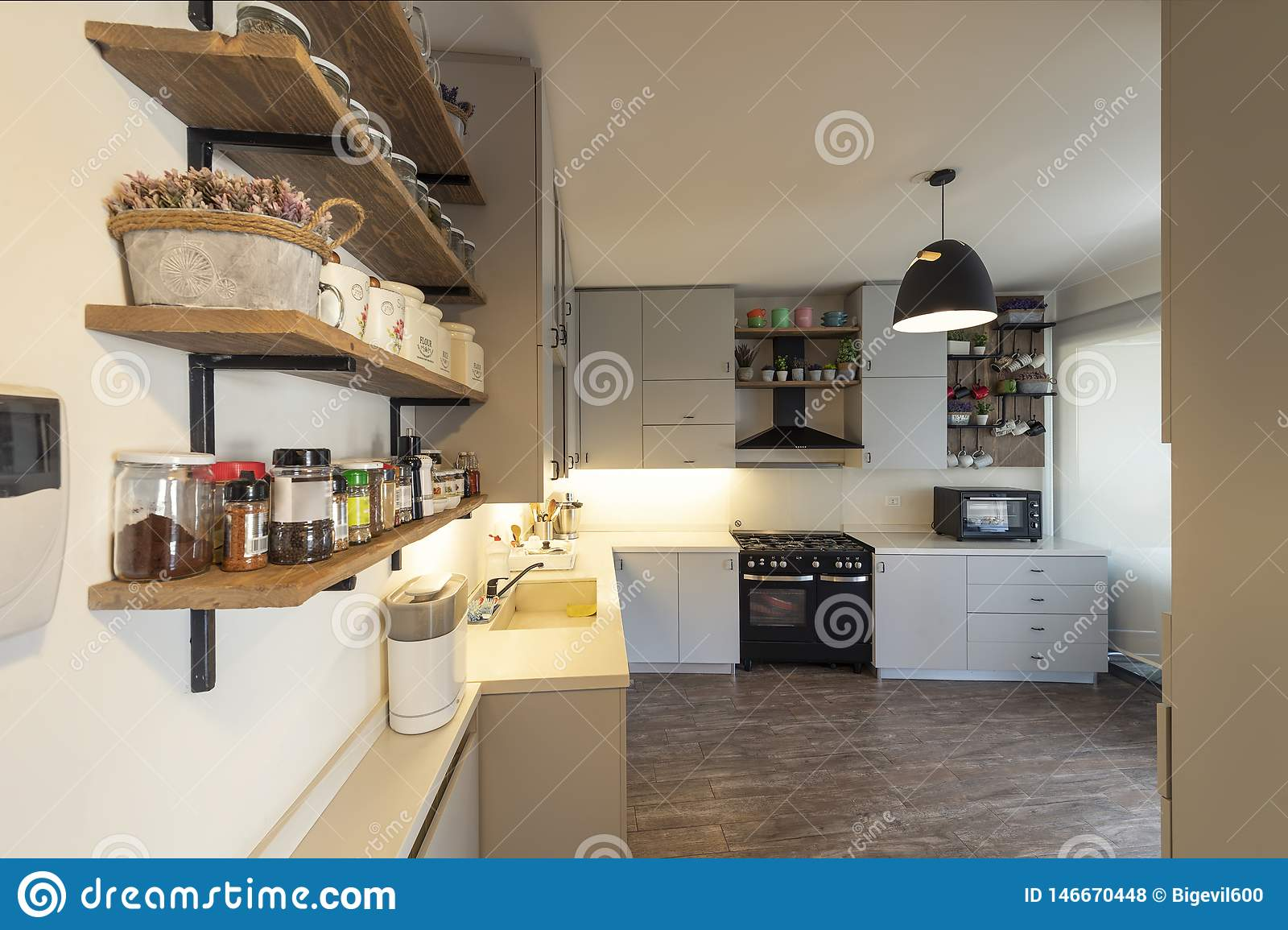 Vintage Industrial Kitchen Kitchen Design Stock Photo Image Of Floor Estate 146670448