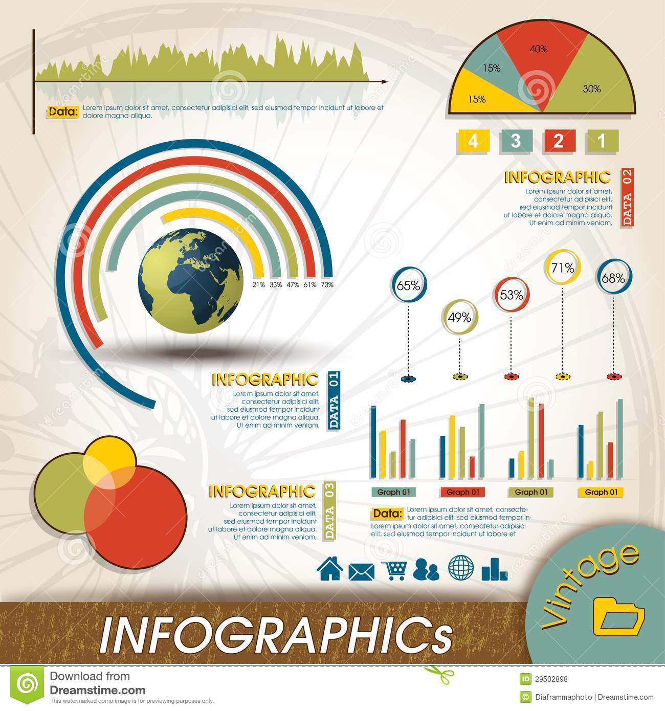 Vintage Infographic Design Collection, Charts And Royalty Free ...