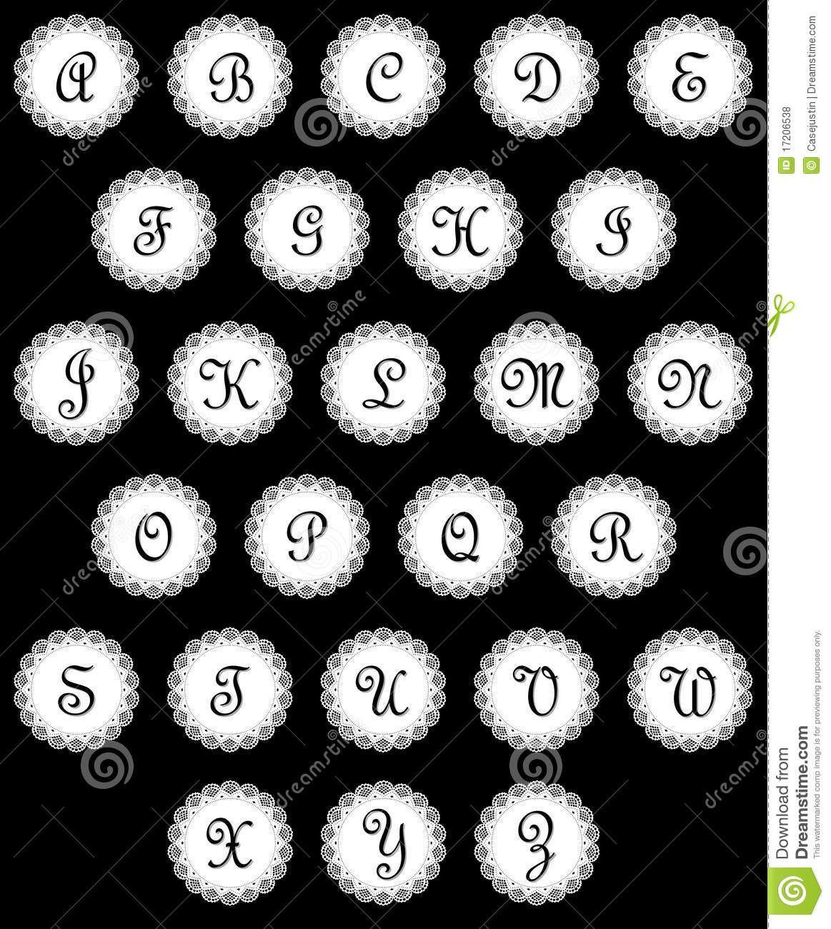 Complete alphabet in vintage script initials on white lace medallions ...