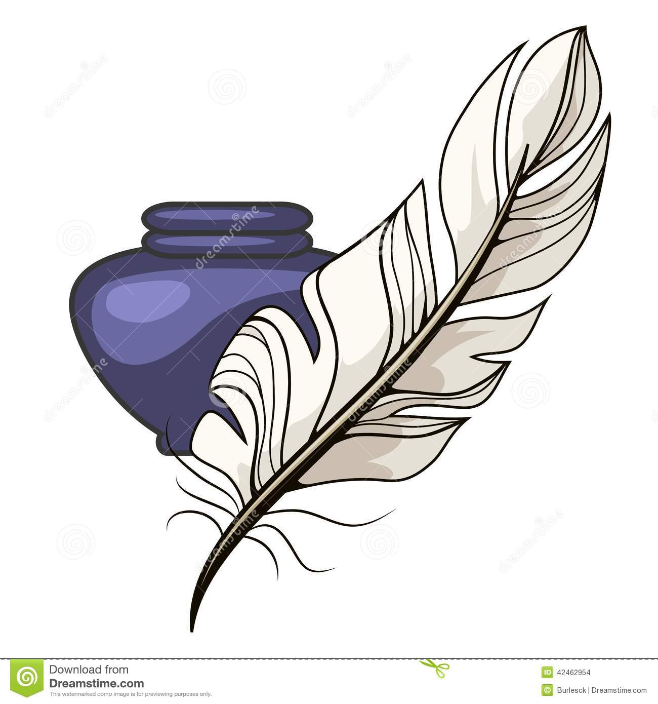 vintage inkwell and feather stock vector image 42462954