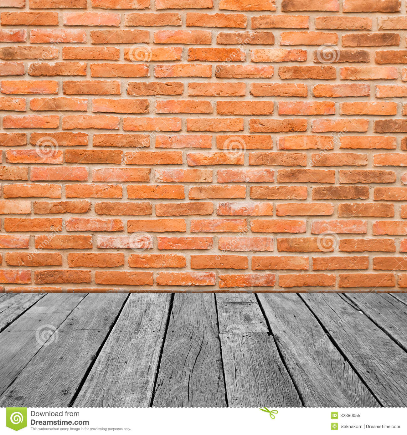 Vintage Interior Of Brick Wall And Old Wooden Stock Image