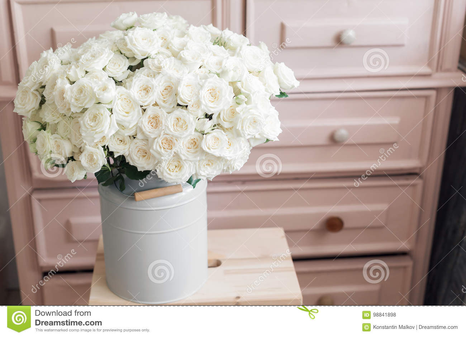 Superieur Vintage Interior Decoration Pink Pastel Closet White Roses In Metal Bucket.