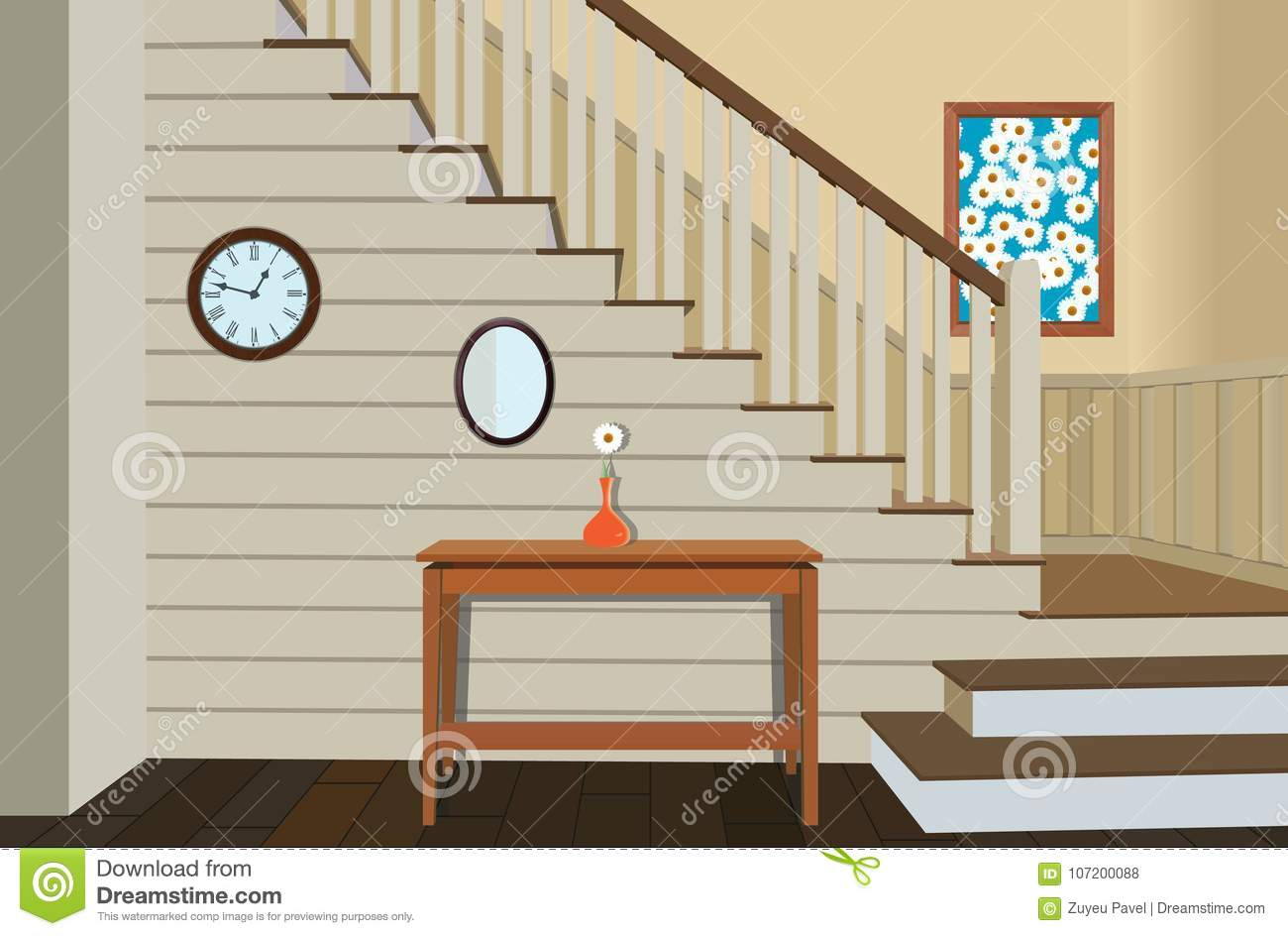 Vintage Interior Of The Hallway With A Staircase Stock Vector