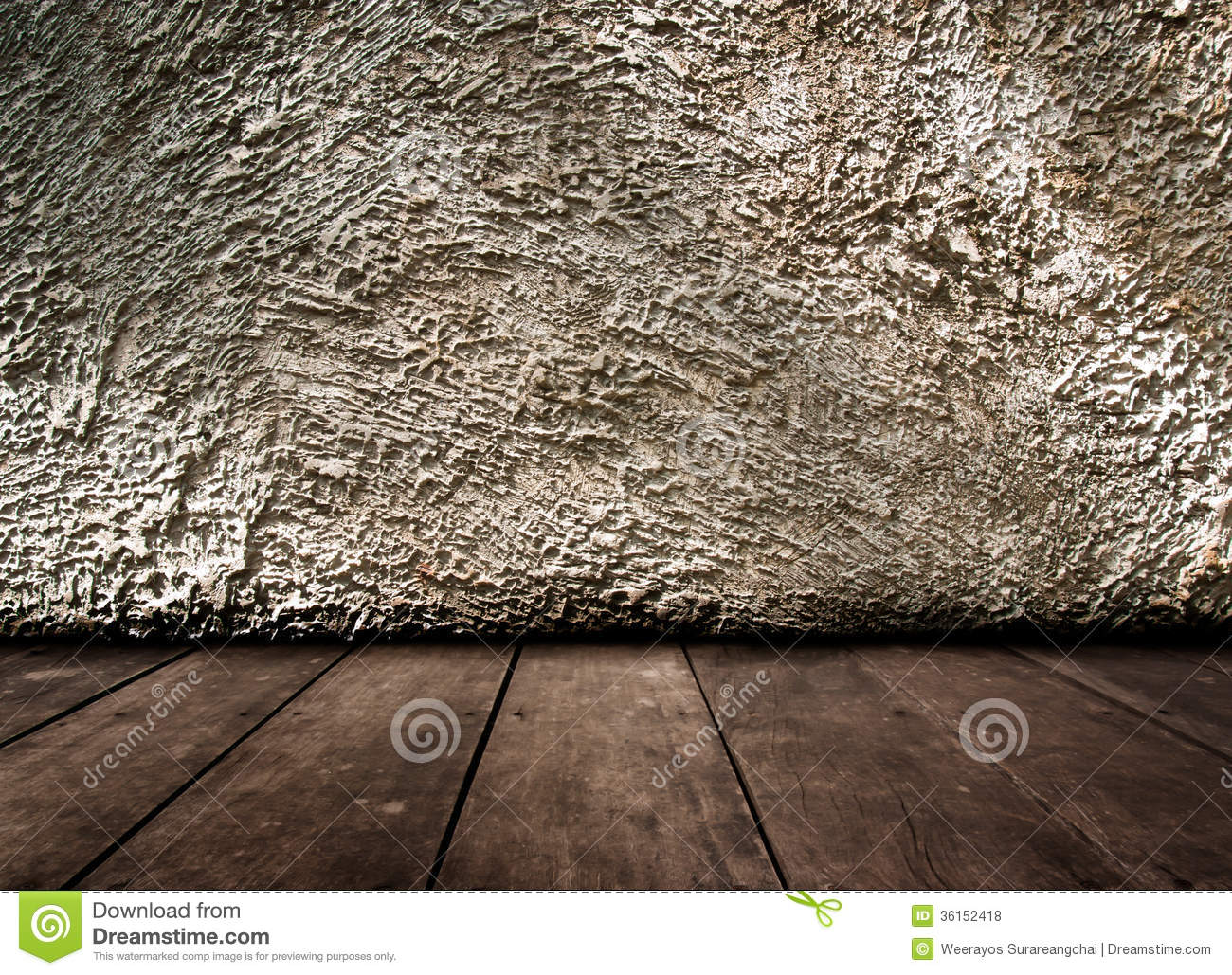 Vintage Interior Of Old Stone Wall And Wooden Floor