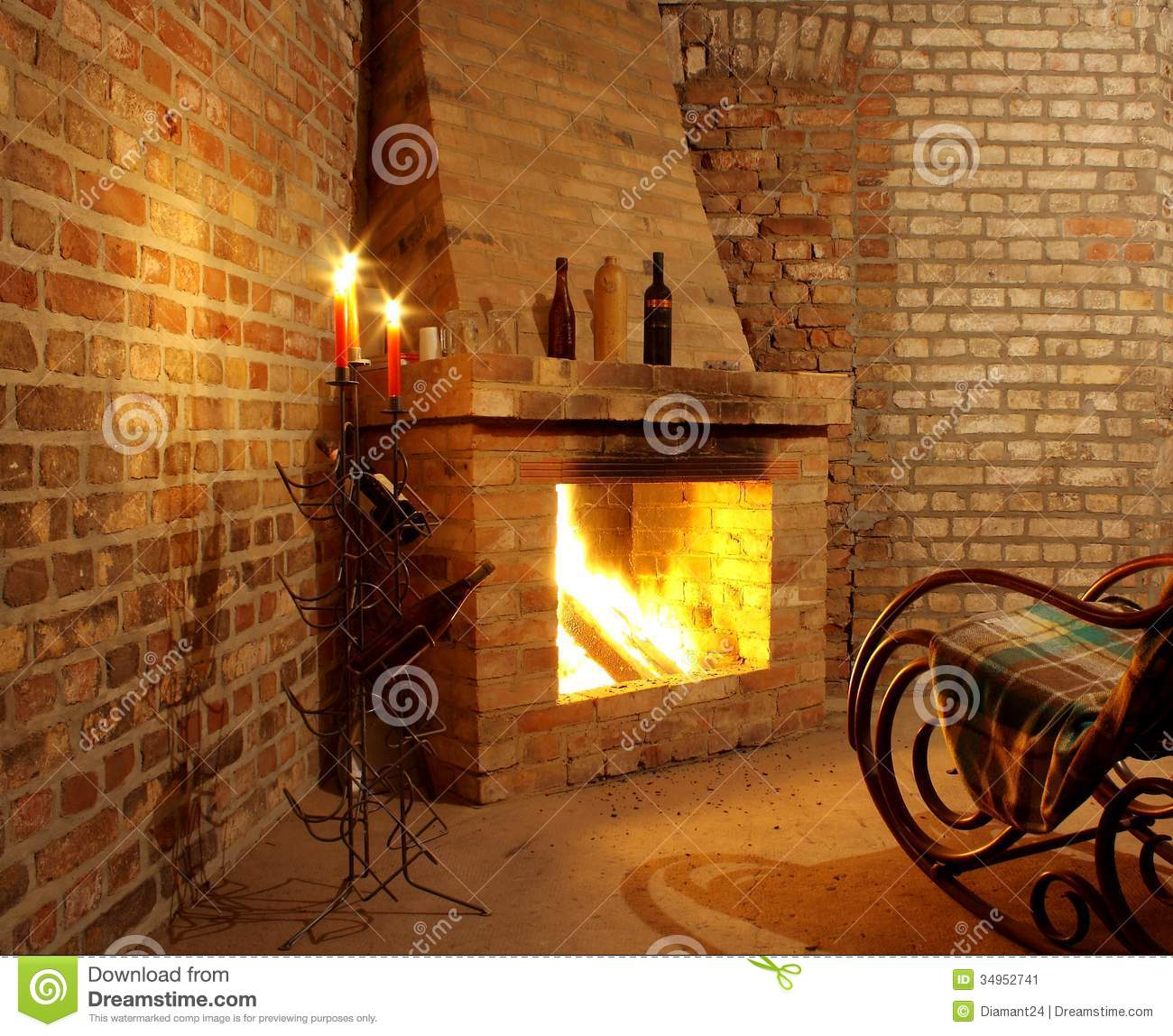 Vintage Interior With Rocking Chair By Fireplace And Candles Stock Image Image 34952741