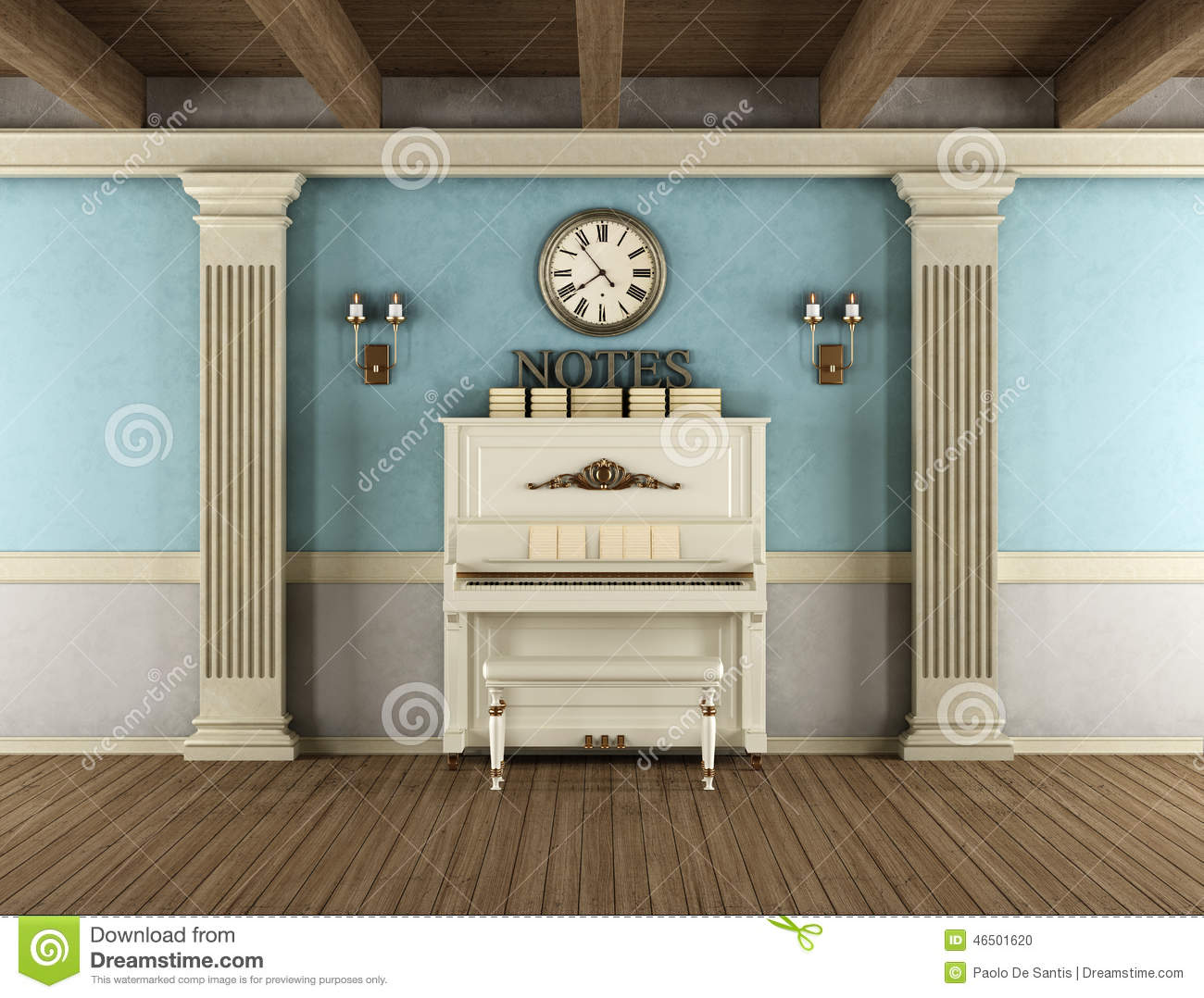 Vintage Interior With Upright Piano Stock Illustration