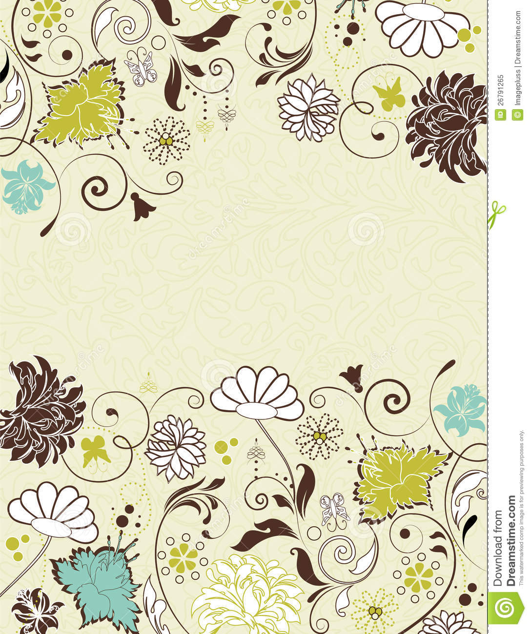 Vintage Invitation Card With Floral Background Royalty