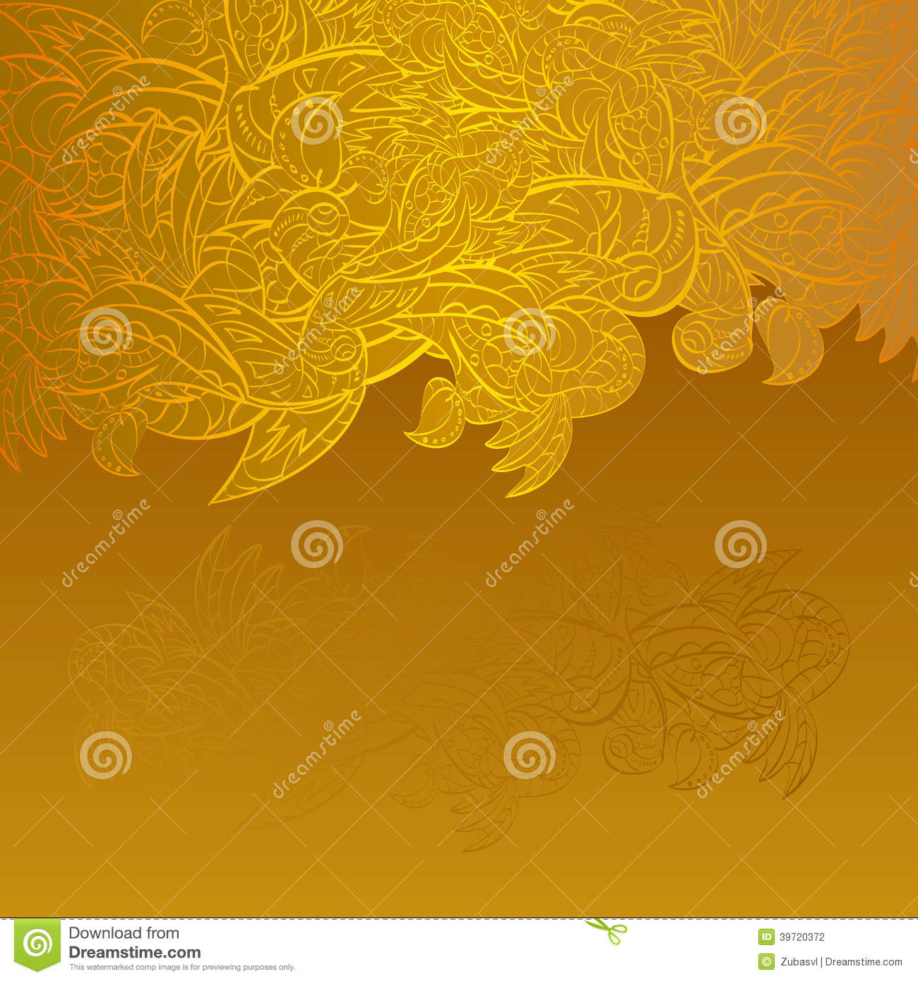 vintage invitation card on gold background with leaves