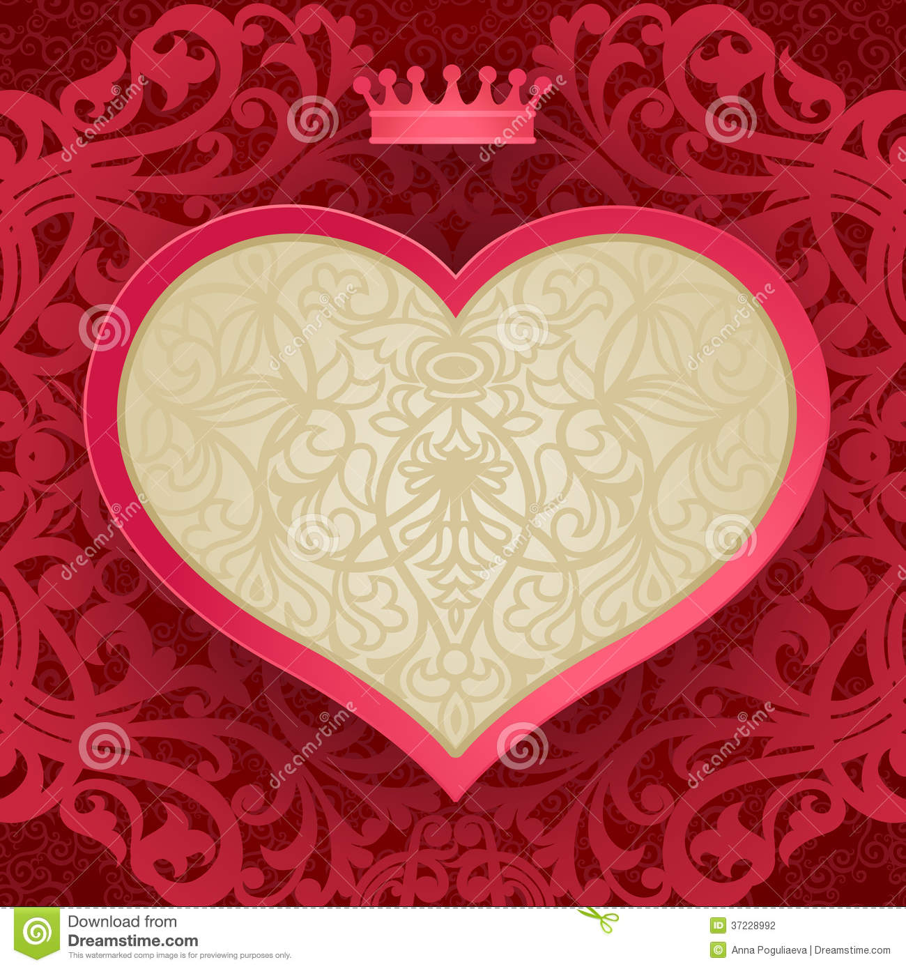 Vintage Invitation Card With Heart And Floral Motifs. Stock Vector ...