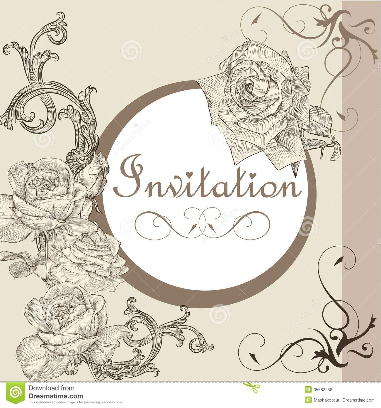 Vintage Invitation Card With Roses Vector Image 35682258 – Vintage Invitation Cards