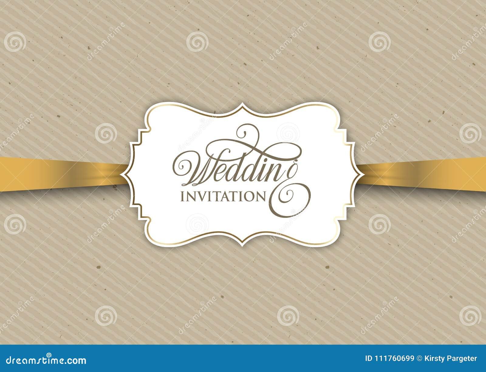 Vintage Invitation Design With Gold Ribbon Stock Vector