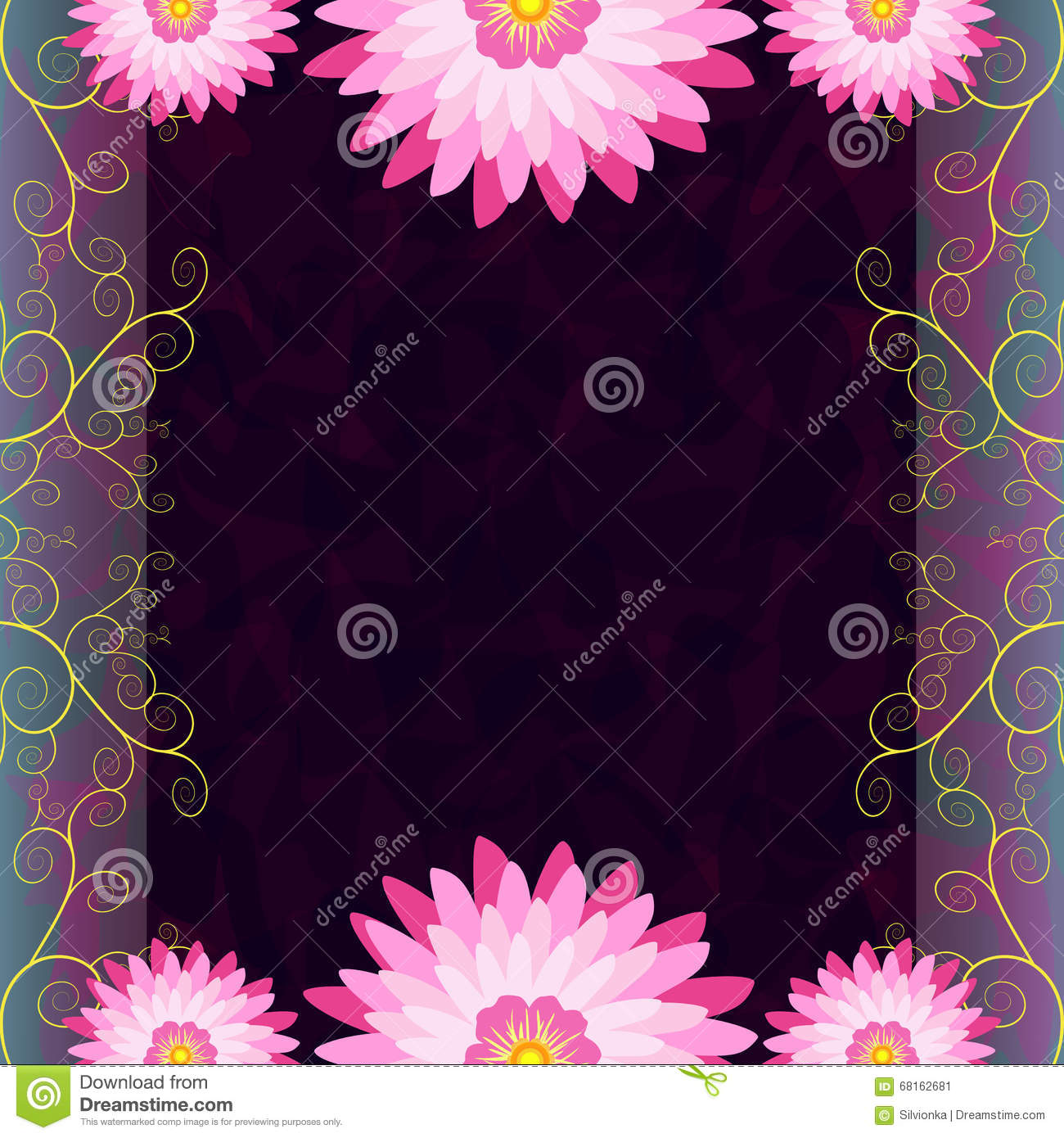 Vintage invitation or greeting card with flowers stock vector vintage luxury dark background with pink purple flowers and golden swirls for greeting or invitation card cover menu presentation anniversary mightylinksfo