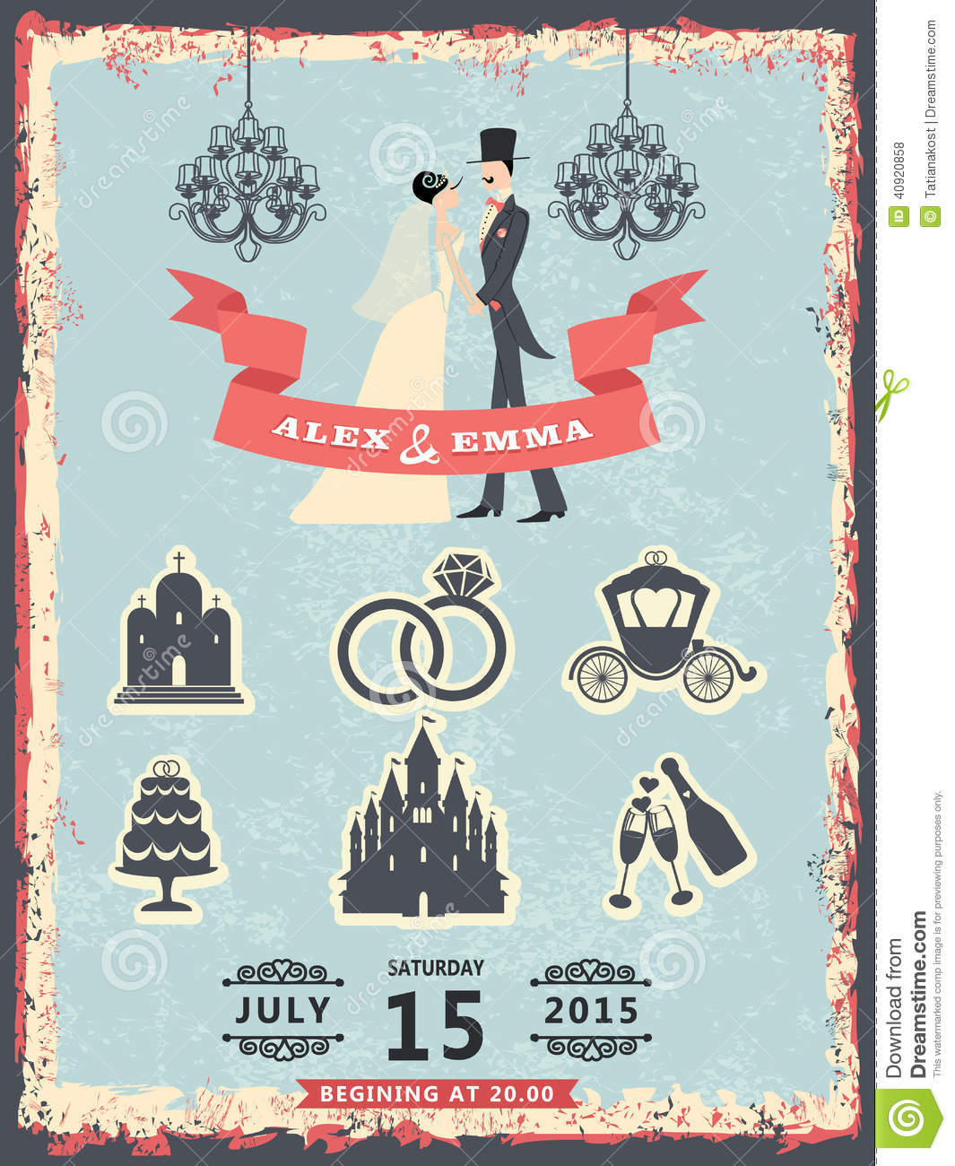 Vintage Invitation With Groom, Bride And Wedding Icons ...