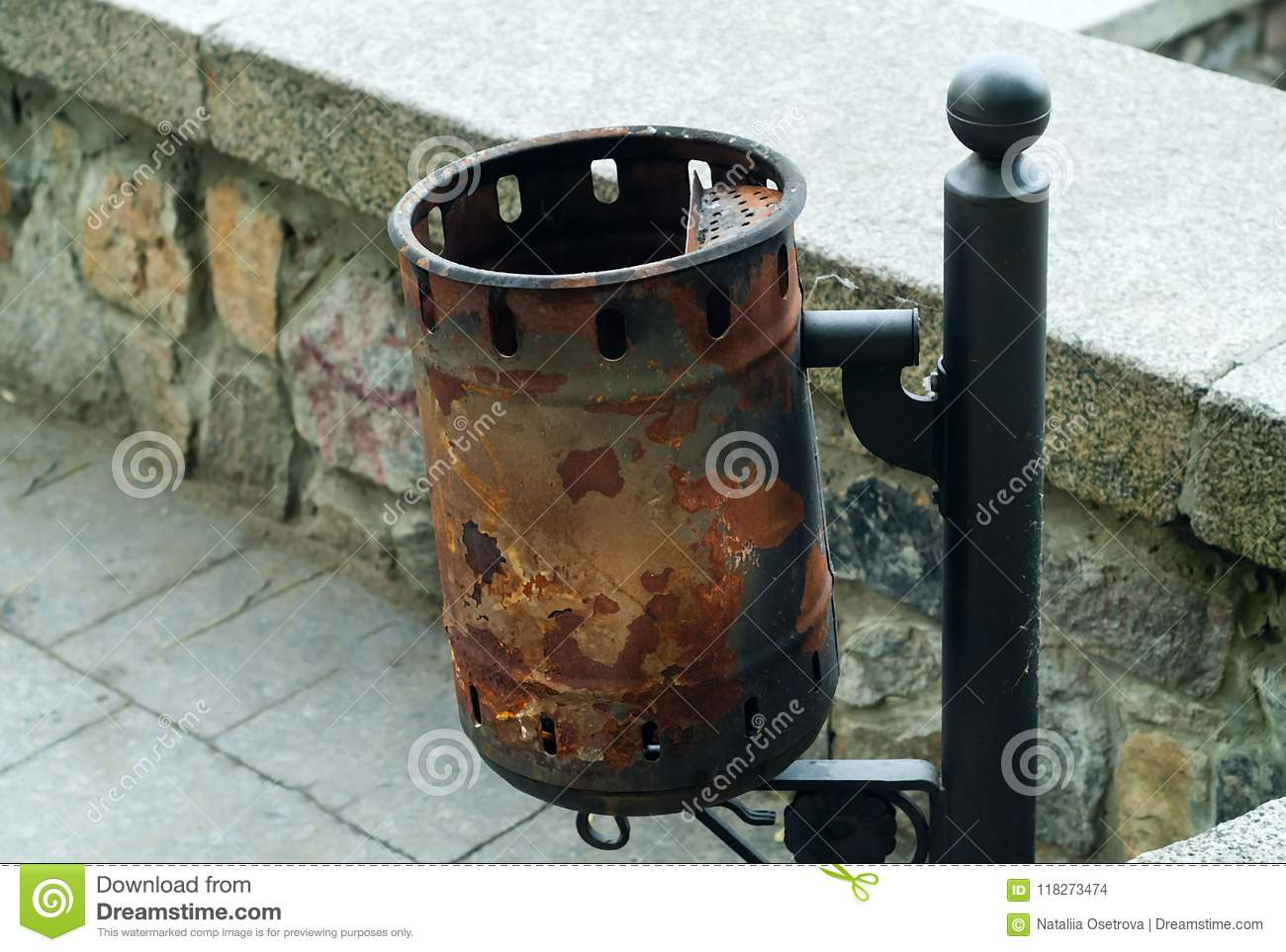 Vintage iron trash can, concept of authentic objects