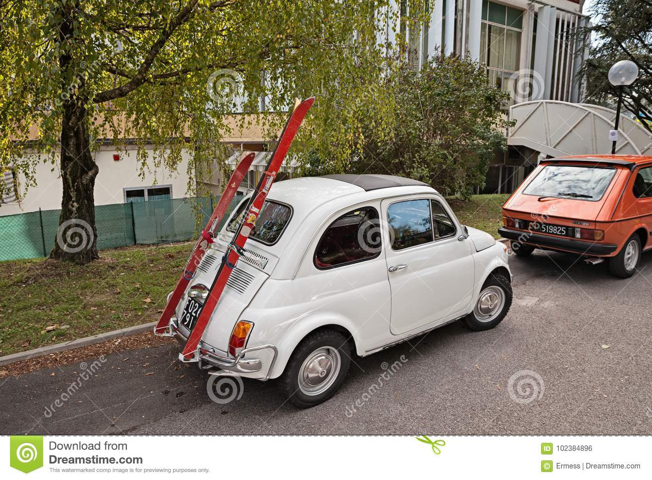 Vintage Italian Car Fiat 500 With Ski Rack Editorial Photo Image