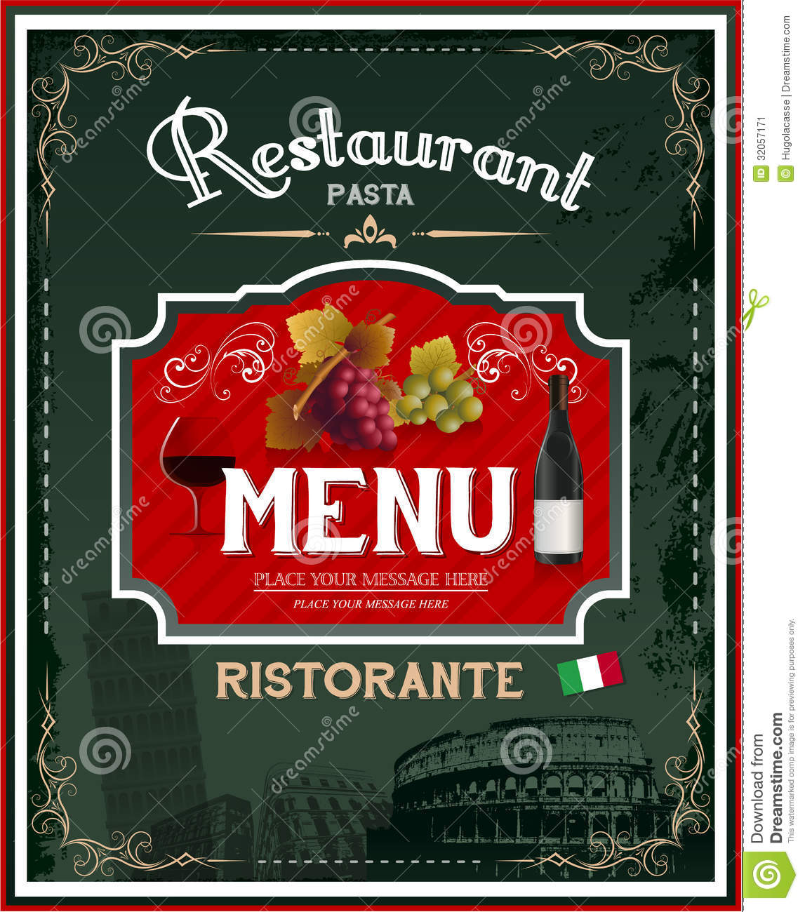 Vintage Italian Restaurant Menu And Poster Design Stock Vector