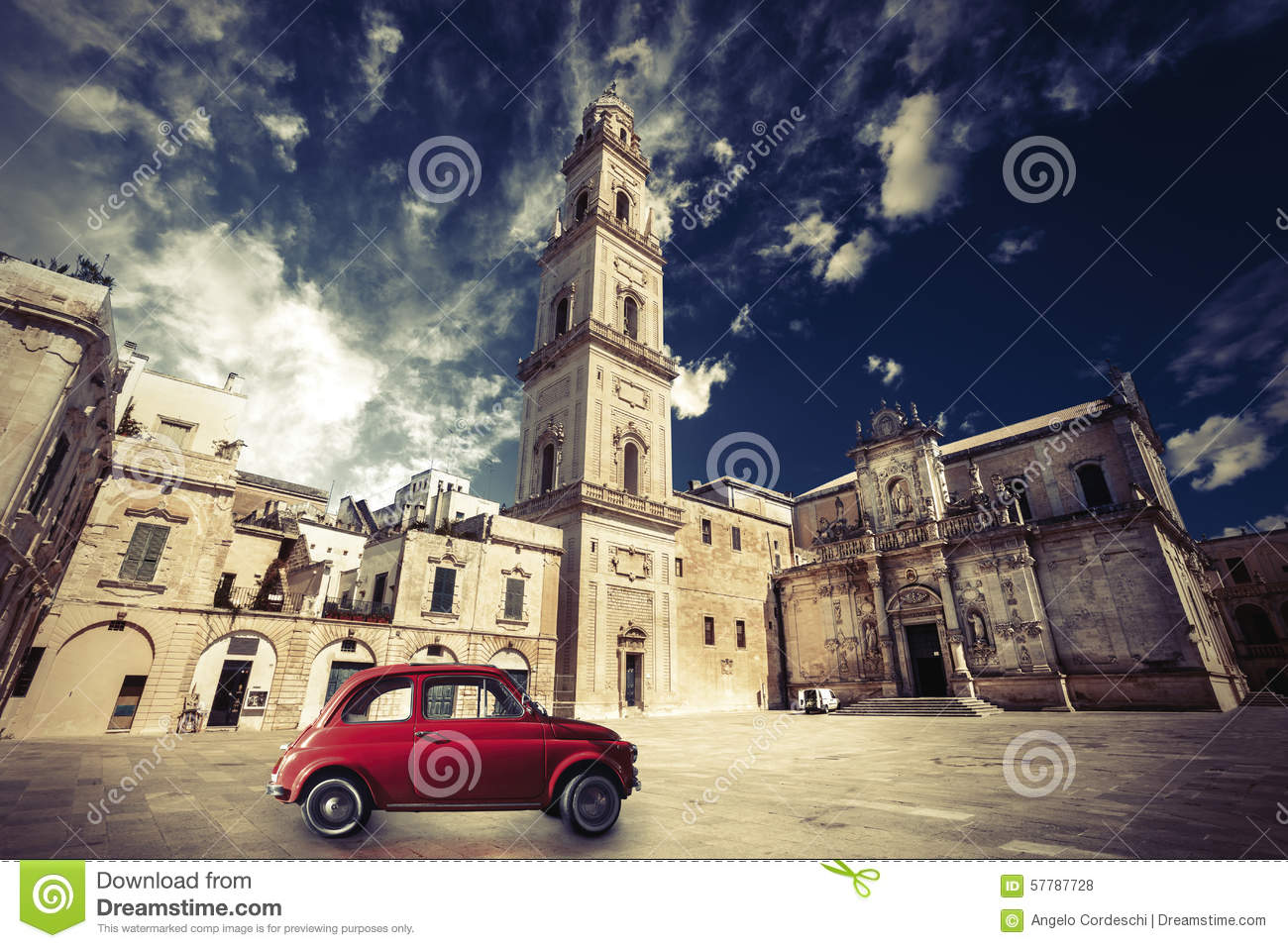 Vintage Italian scene, an old church with a bell tower and old small red car