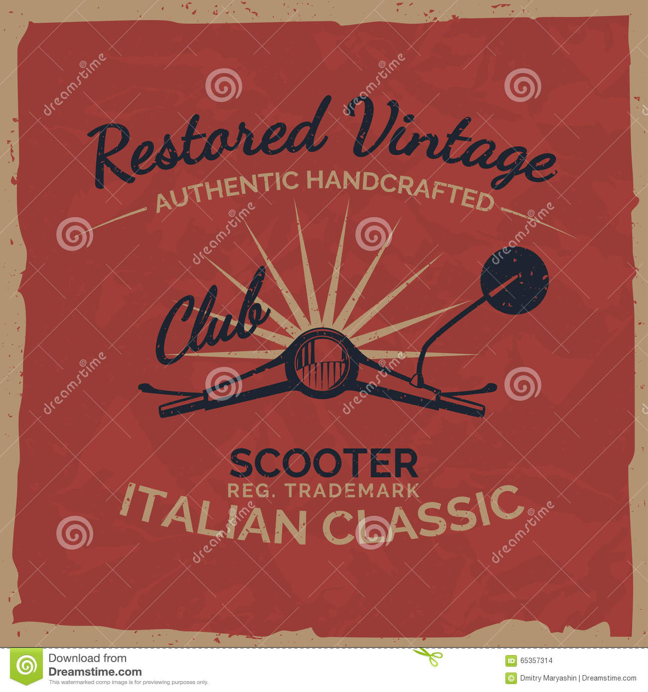 Download Vintage Italian Scooter Tee Print Design With Grunge Texture Stock Vector