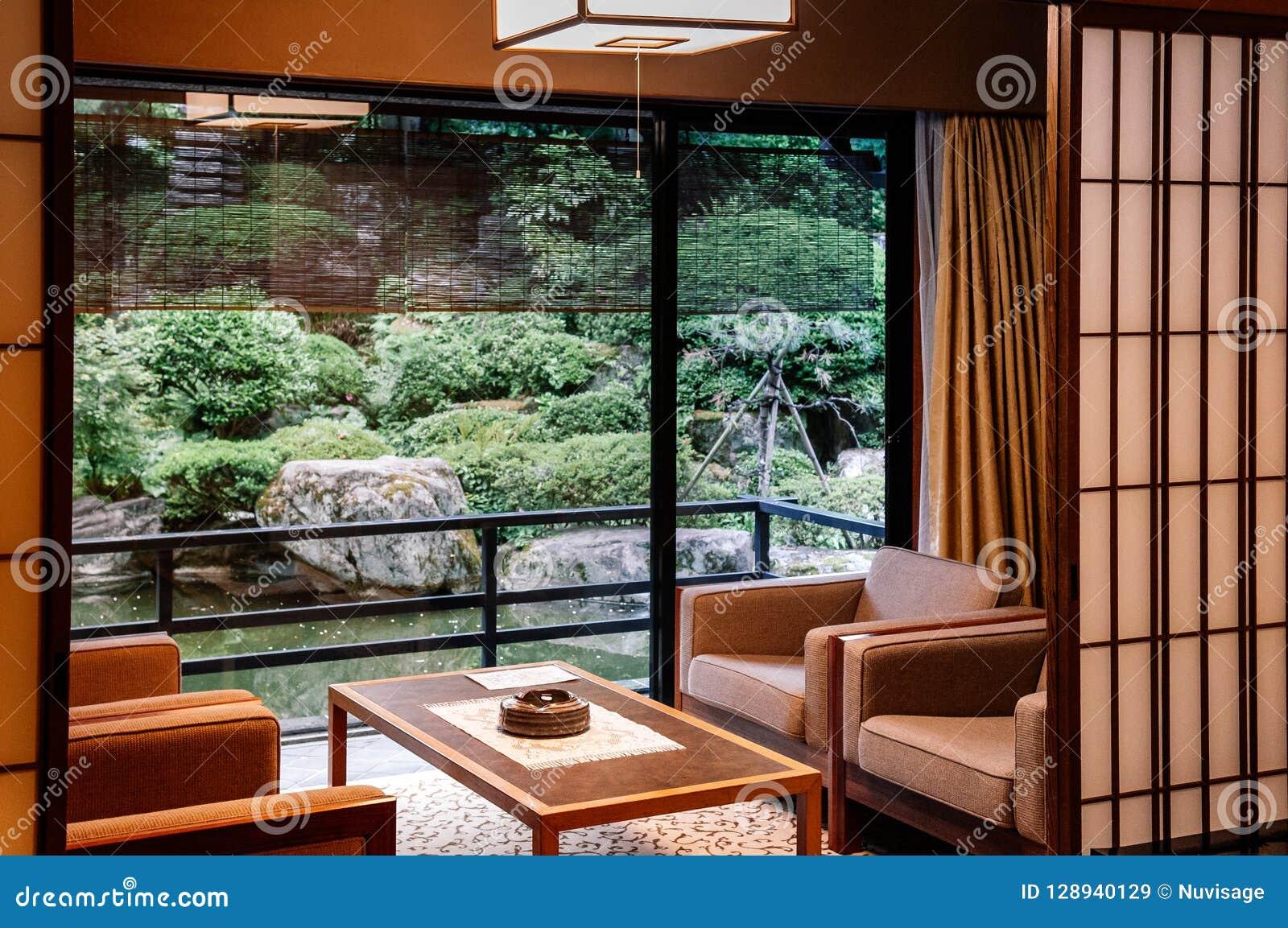 vintage japanese hotel living room with sliding doors zen
