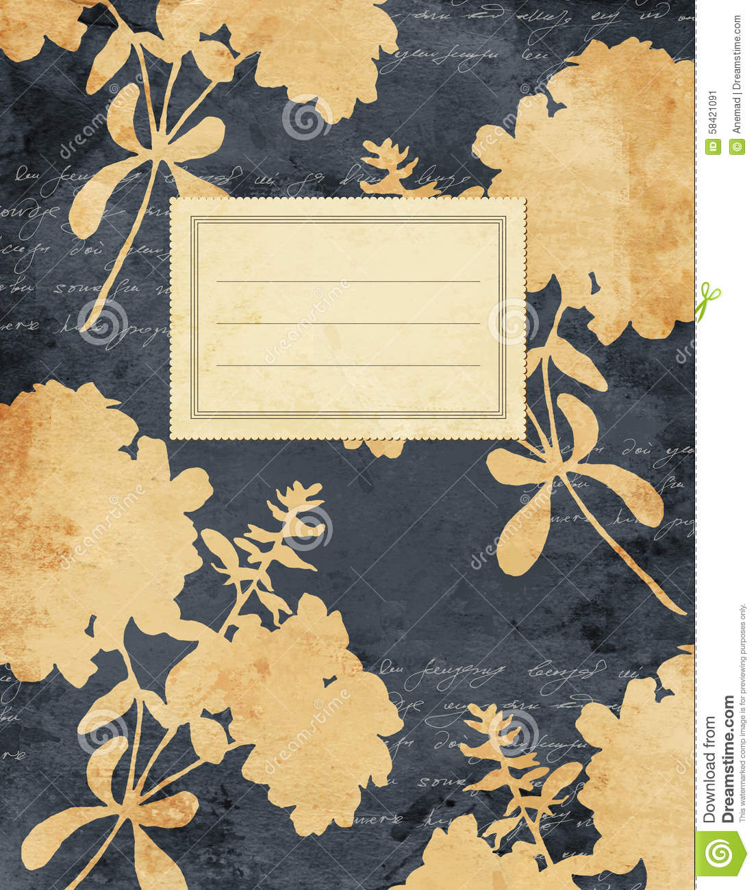 Book Cover Portadas Vintage ~ Vintage jasmine floral notebook cover stock image