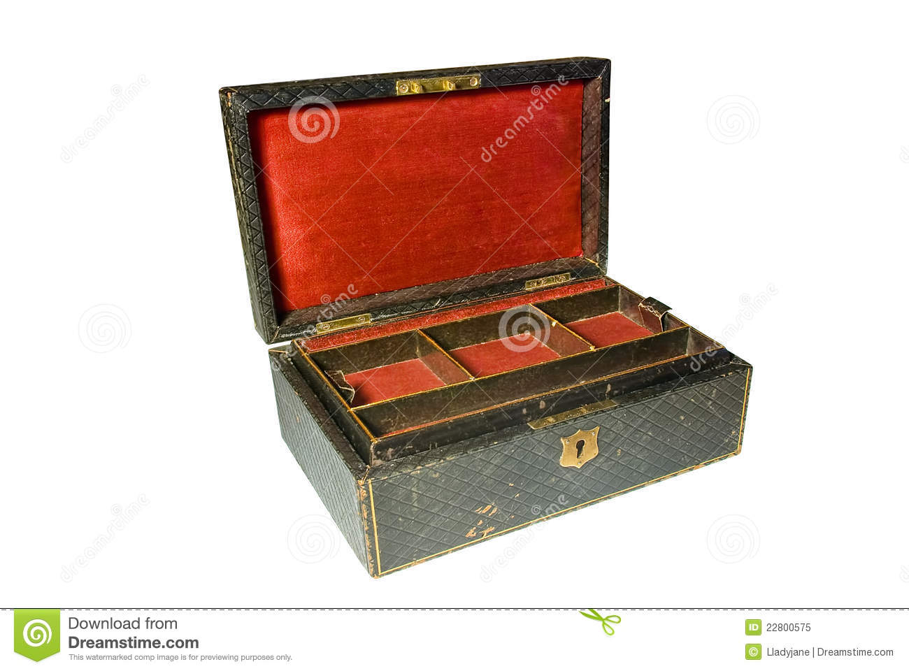Vintage jewelry box isolated on white royalty free stock for Vintage antique jewelry box