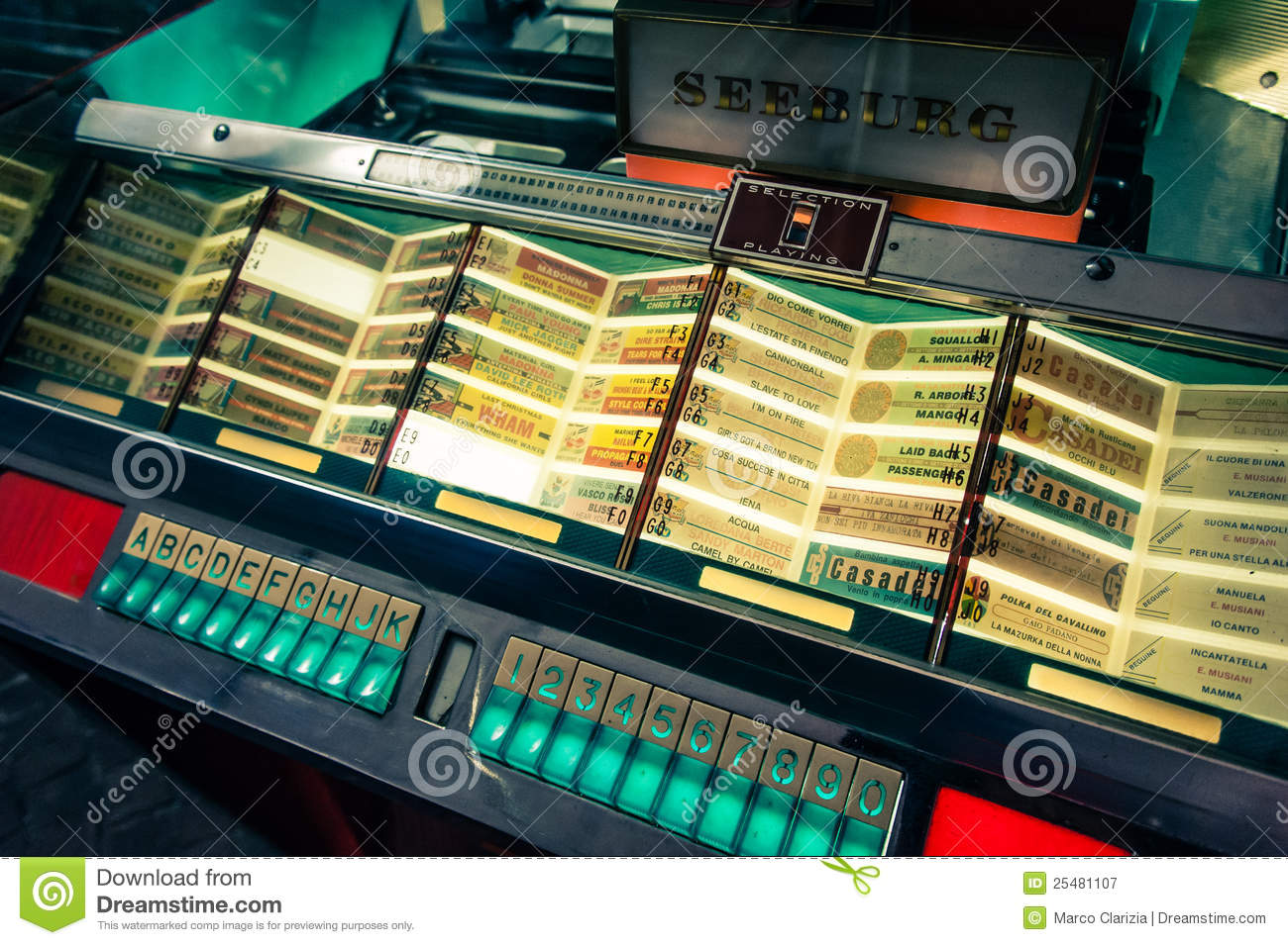 vintage style shot of an old jukebox with italian and international ...