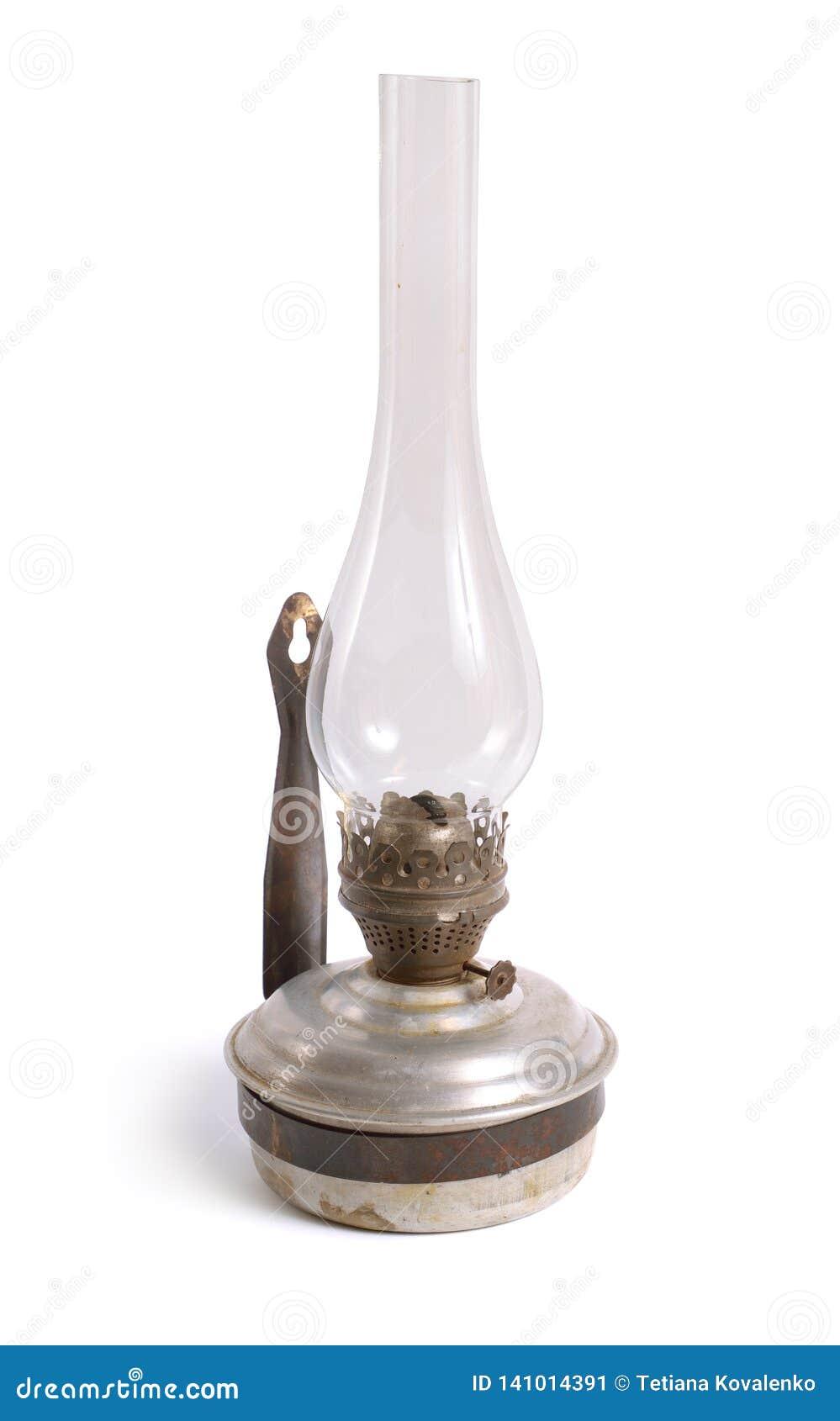Vintage Kerosene Lamp Isolated On White Background Stock Image Image Of Night Glass 141014391