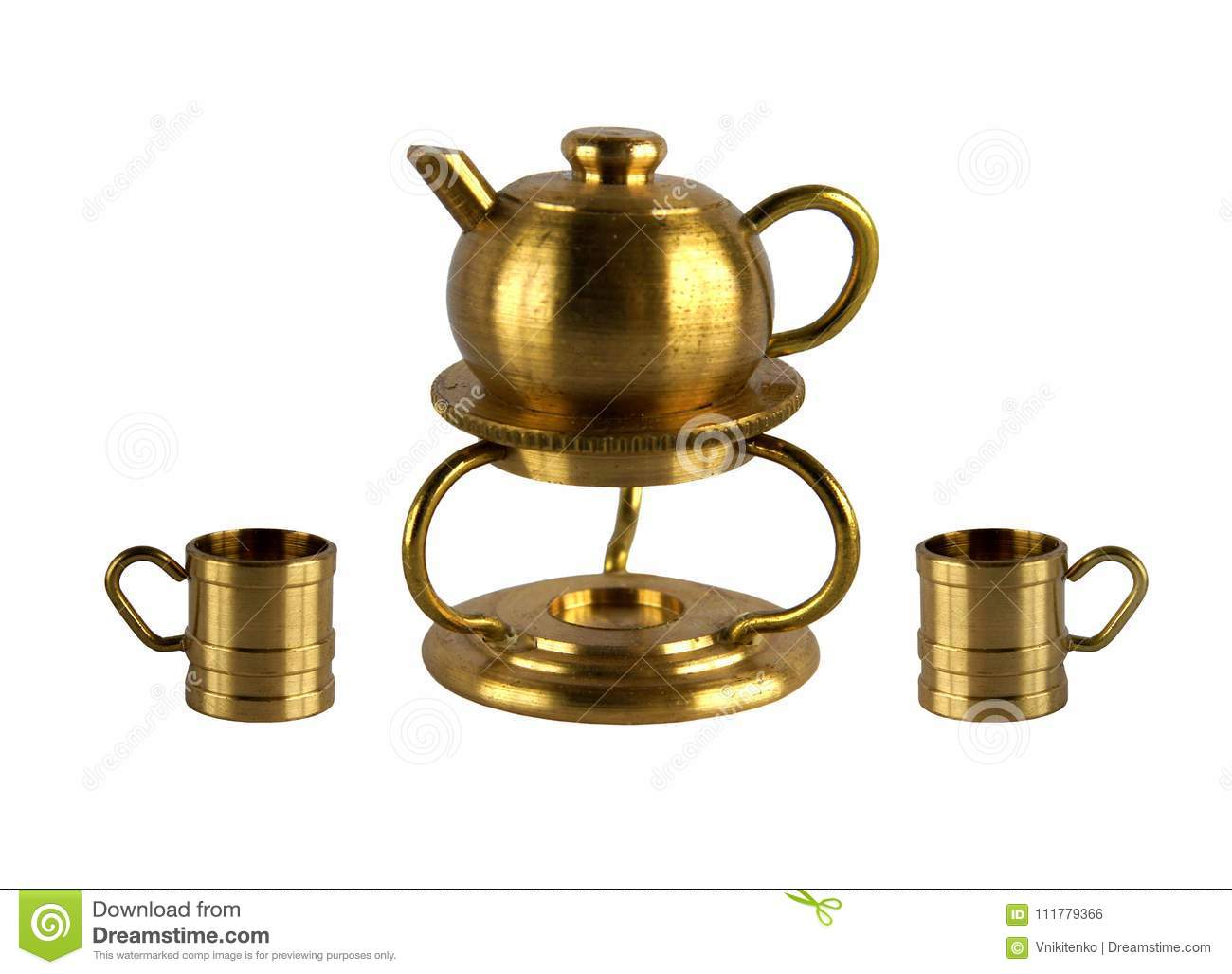 Vintage kettle on the stand and two cups