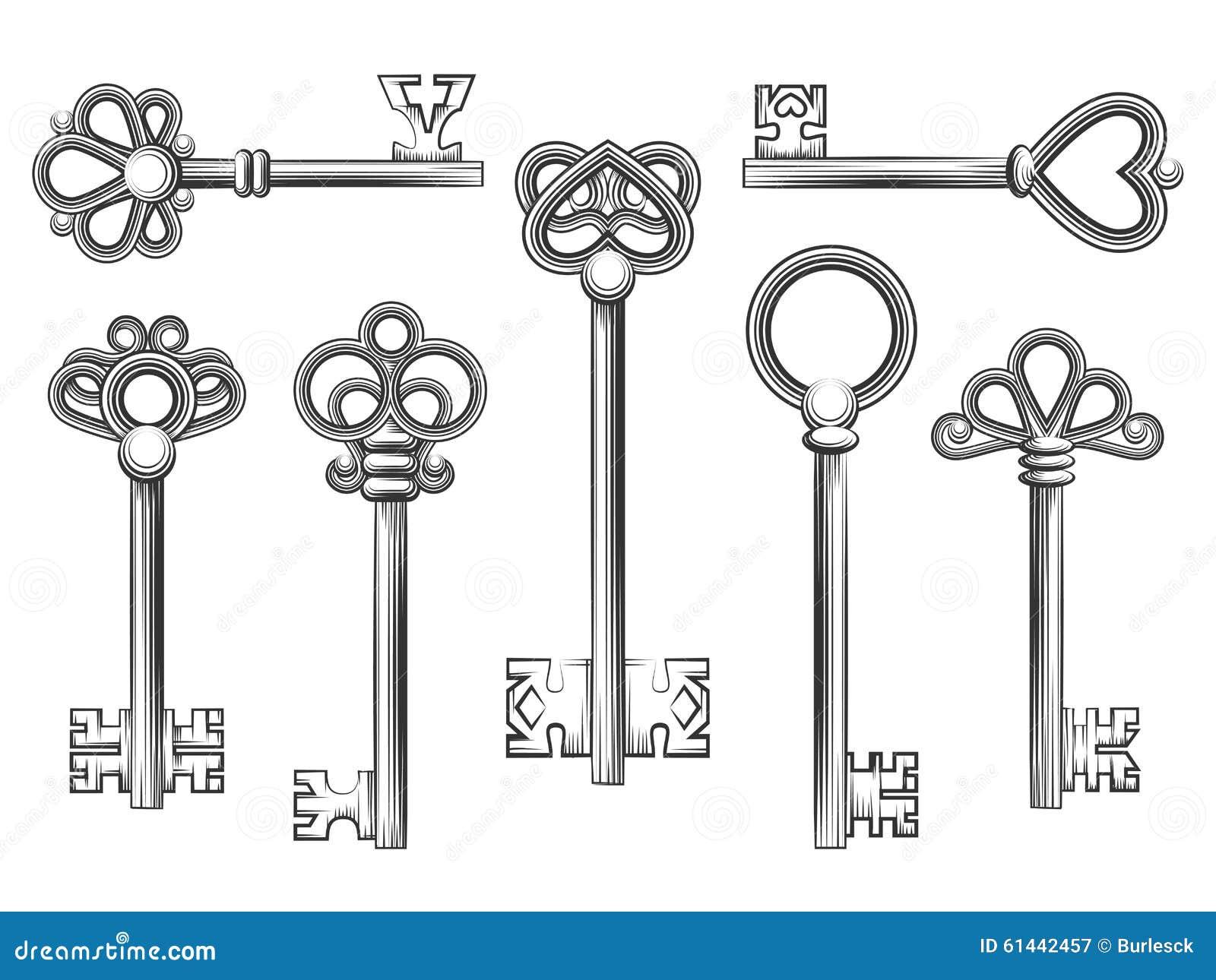 Vector Key Illustration: Vintage Key Vector Set In Engraving Style Stock Vector