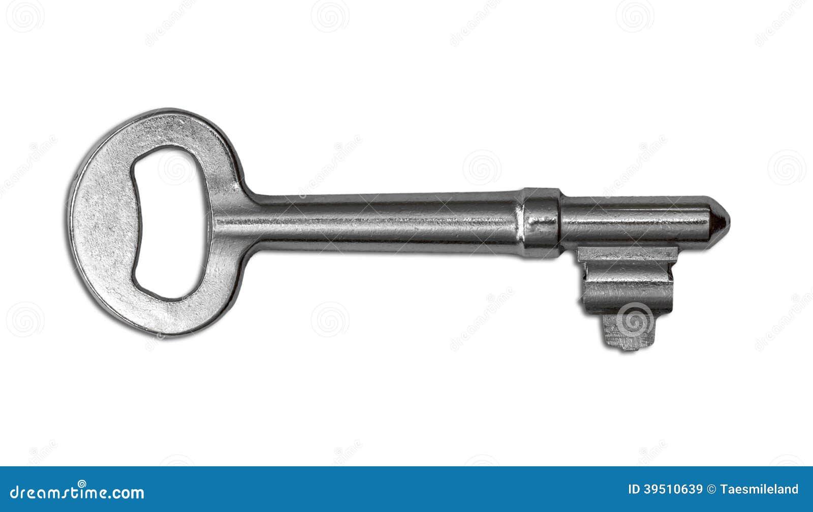 Vintage key on white