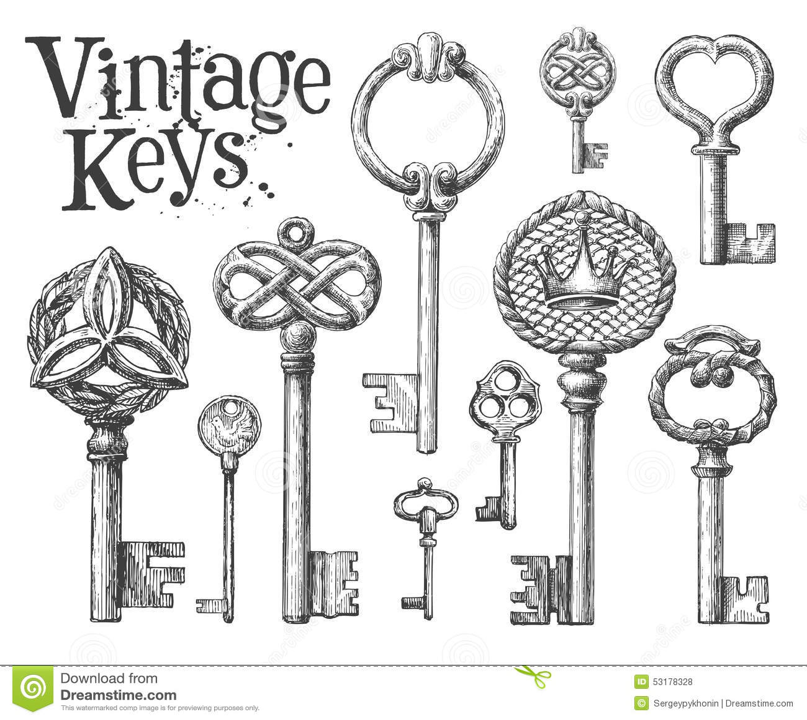 Line Art Key : Vintage key on a white background sketch stock