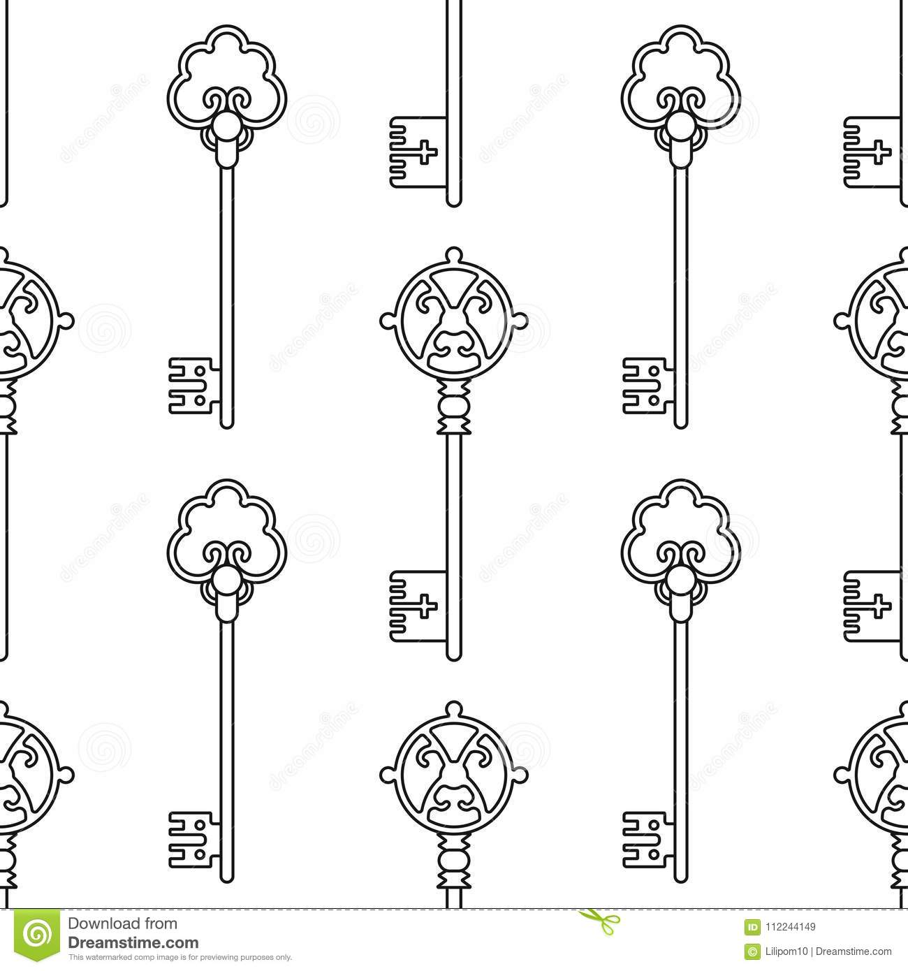 Vintage Keys Black And White Seamless Pattern For Coloring Books Pages Vector Illustration 112244149 Megapixl