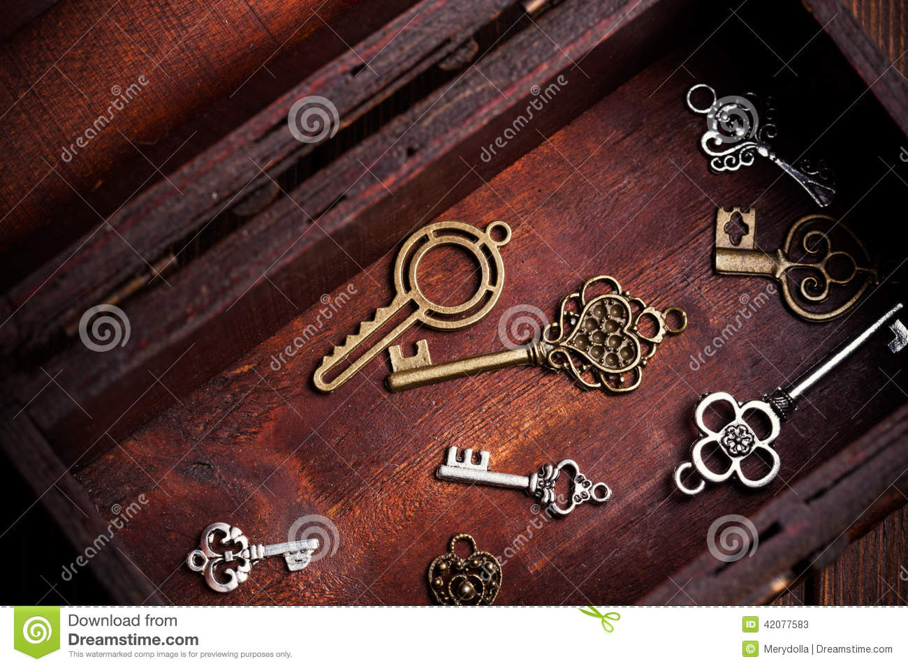 Vintage keys inside old treasure chest