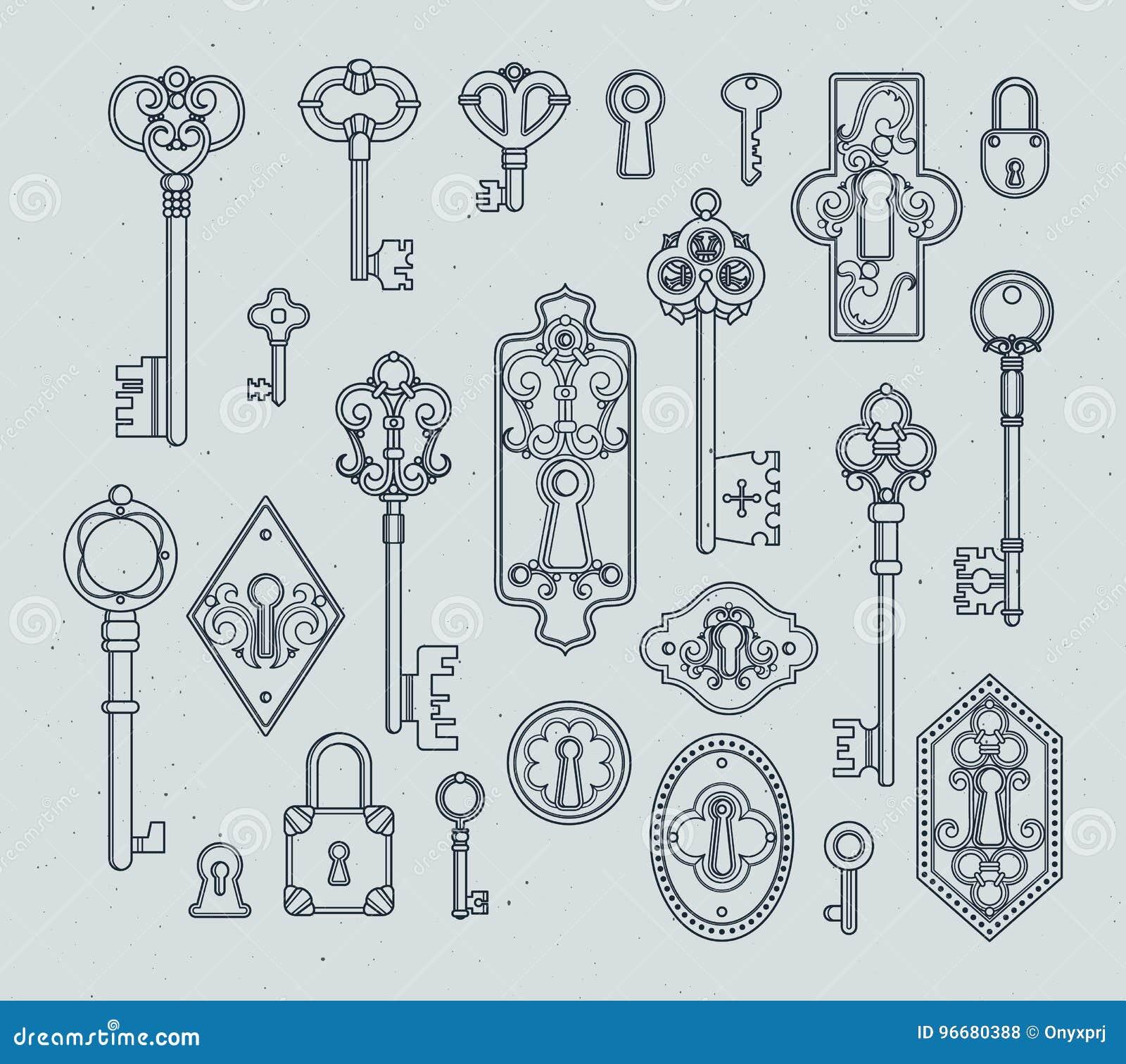 Vector Key Illustration: Vintage Keys And Padlocks For Medieval Doors. Hand Drawn