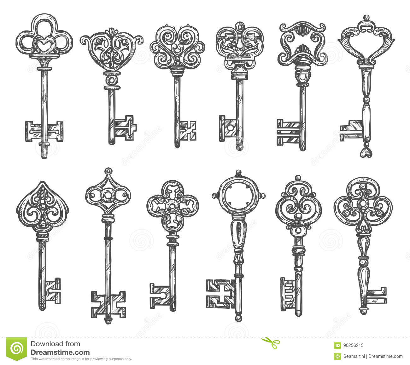 vintage skeleton key drawing sketch coloring page