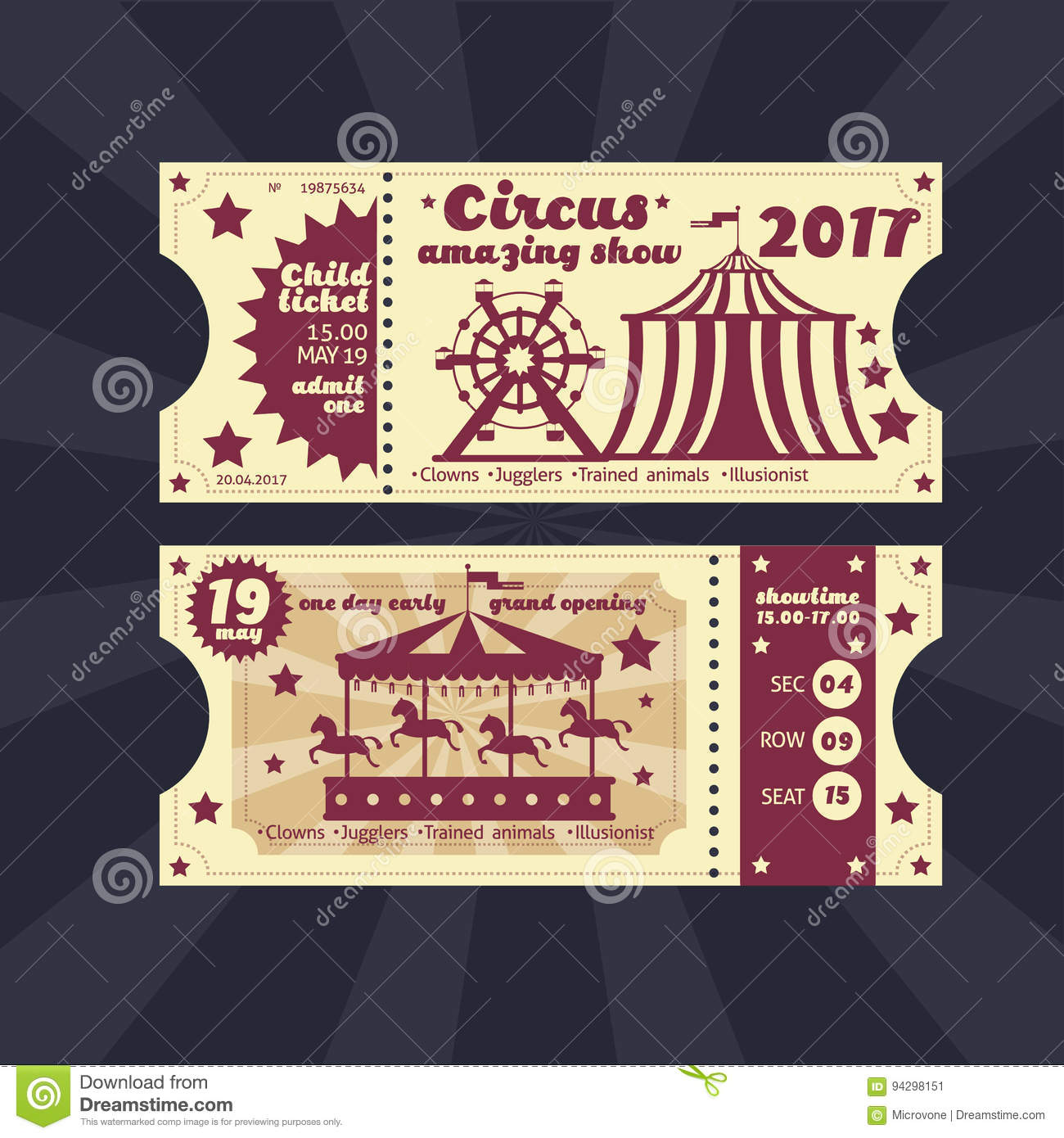 Vintage Kids Costume Party Invitation. Retro Circus Carnival Ticket ...