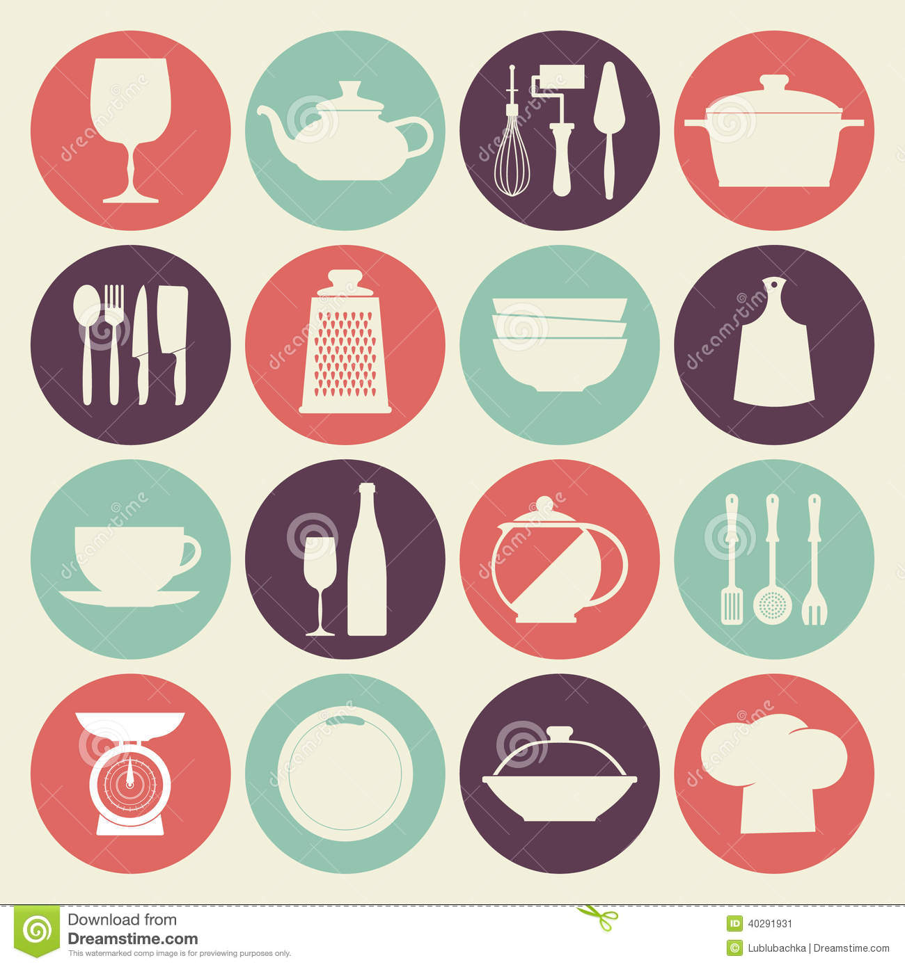 Vintage Kitchen Dishes Icons Set Stock Vector