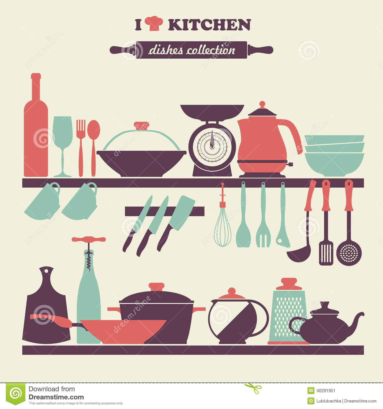 Vintage kitchen dishes icons set stock vector image for Kitchen set vector