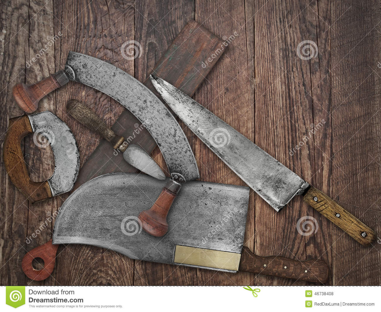 Vintage Kitchen Knives Collage Over Old Wood Stock Photo