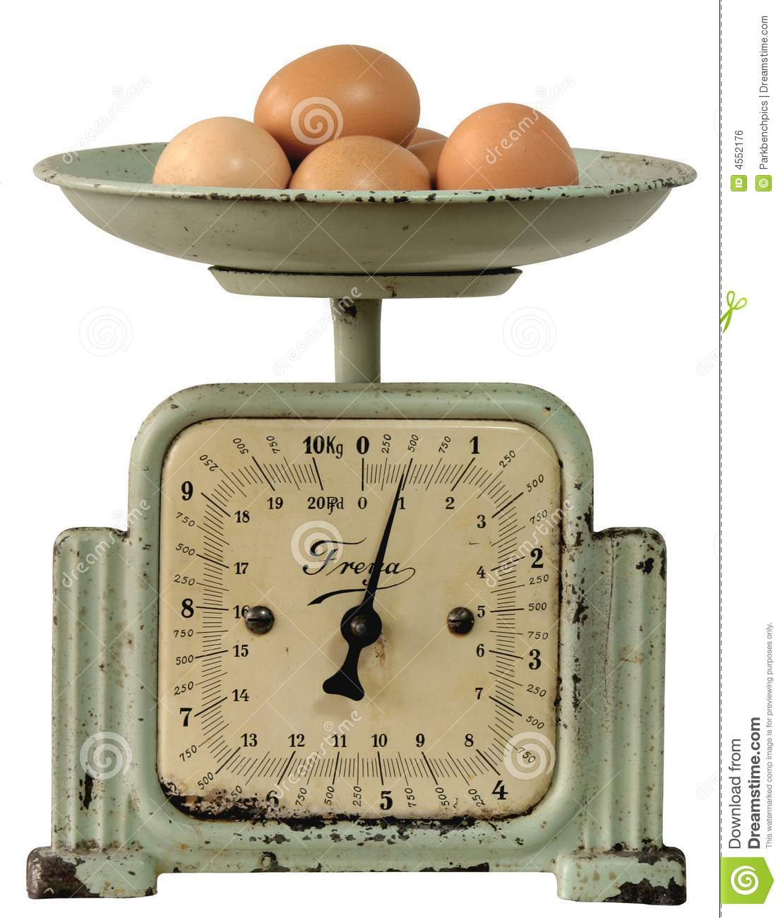 Vintage Kitchen-scales With Eggs Stock Photo