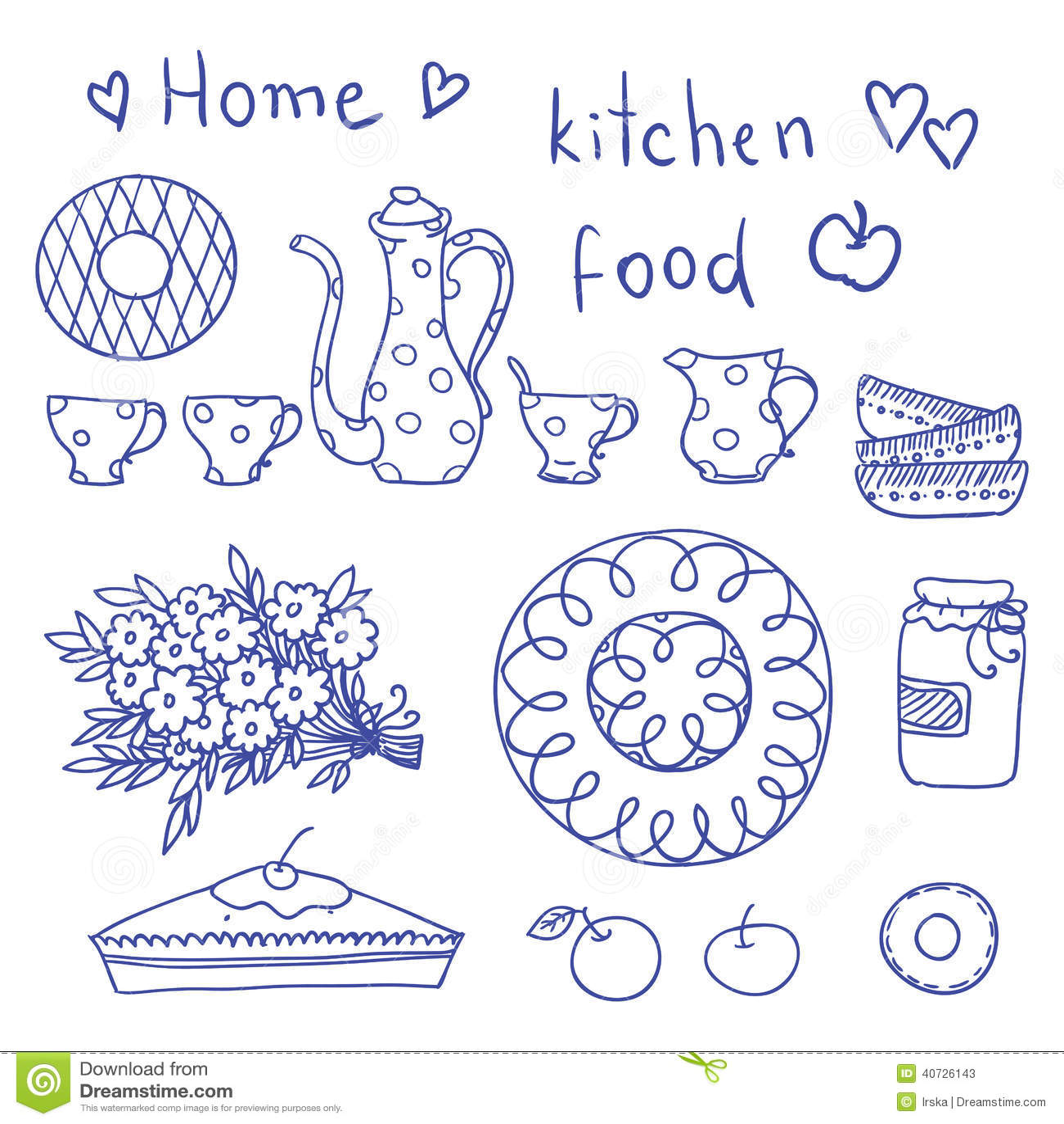 Vintage kitchen set in vector stock vector image 40726143 for Kitchen design vector