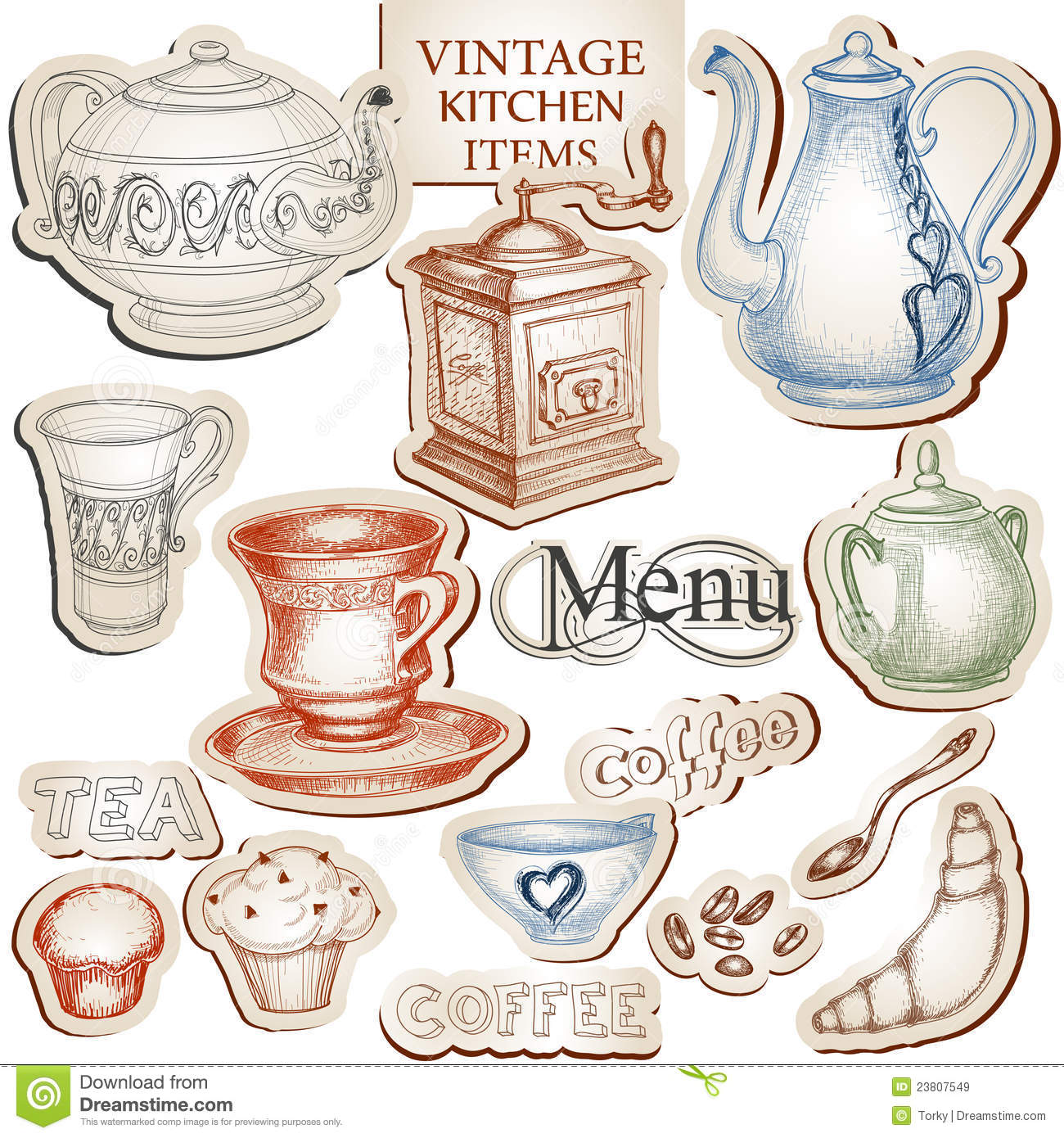 Vintage Kitchen Tools Stock Vector. Illustration Of Coffee